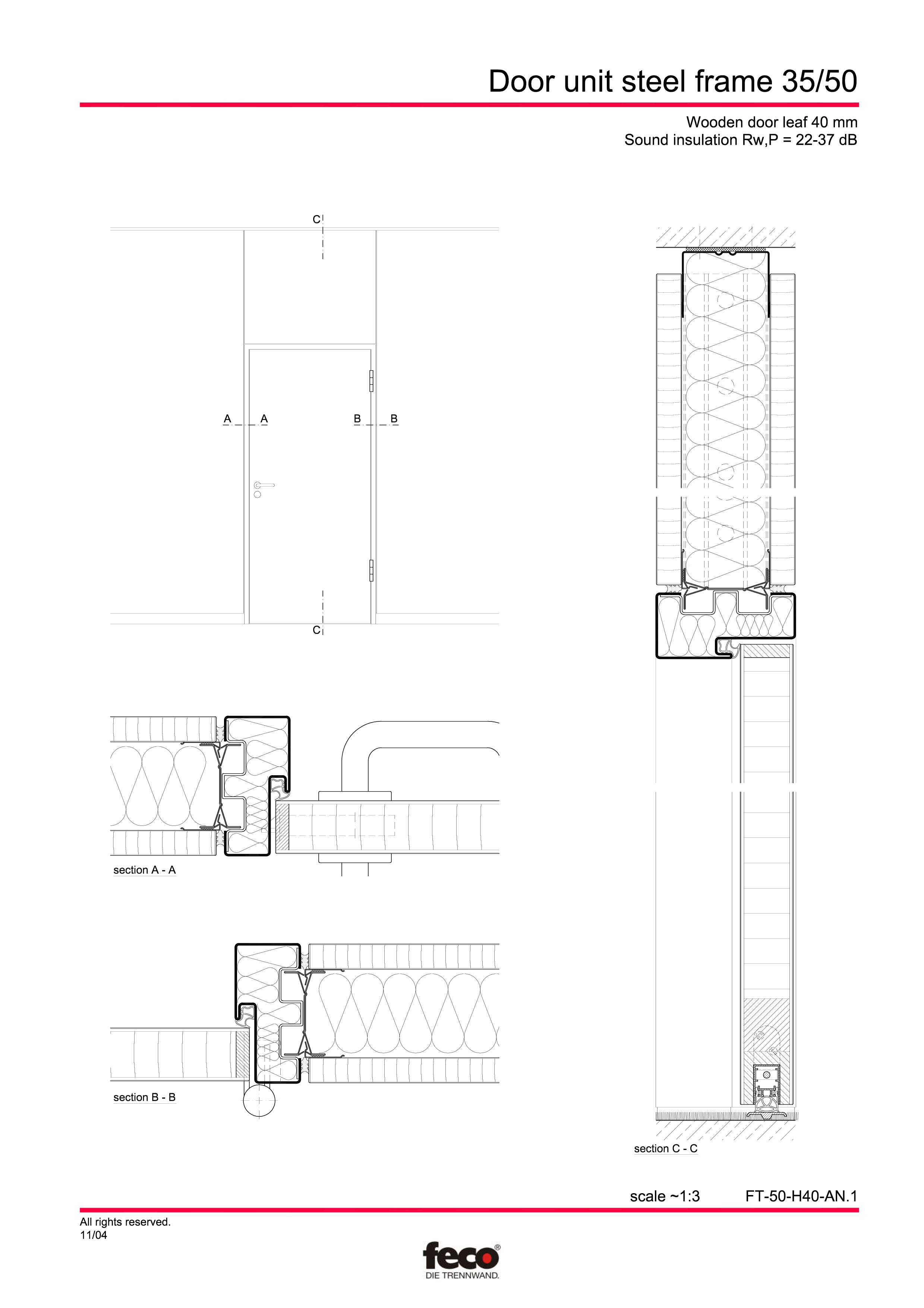 Pagina 1 - CAD-PDF Profile usi din otel FECO Detaliu de montaj FecoCent, FecoPur