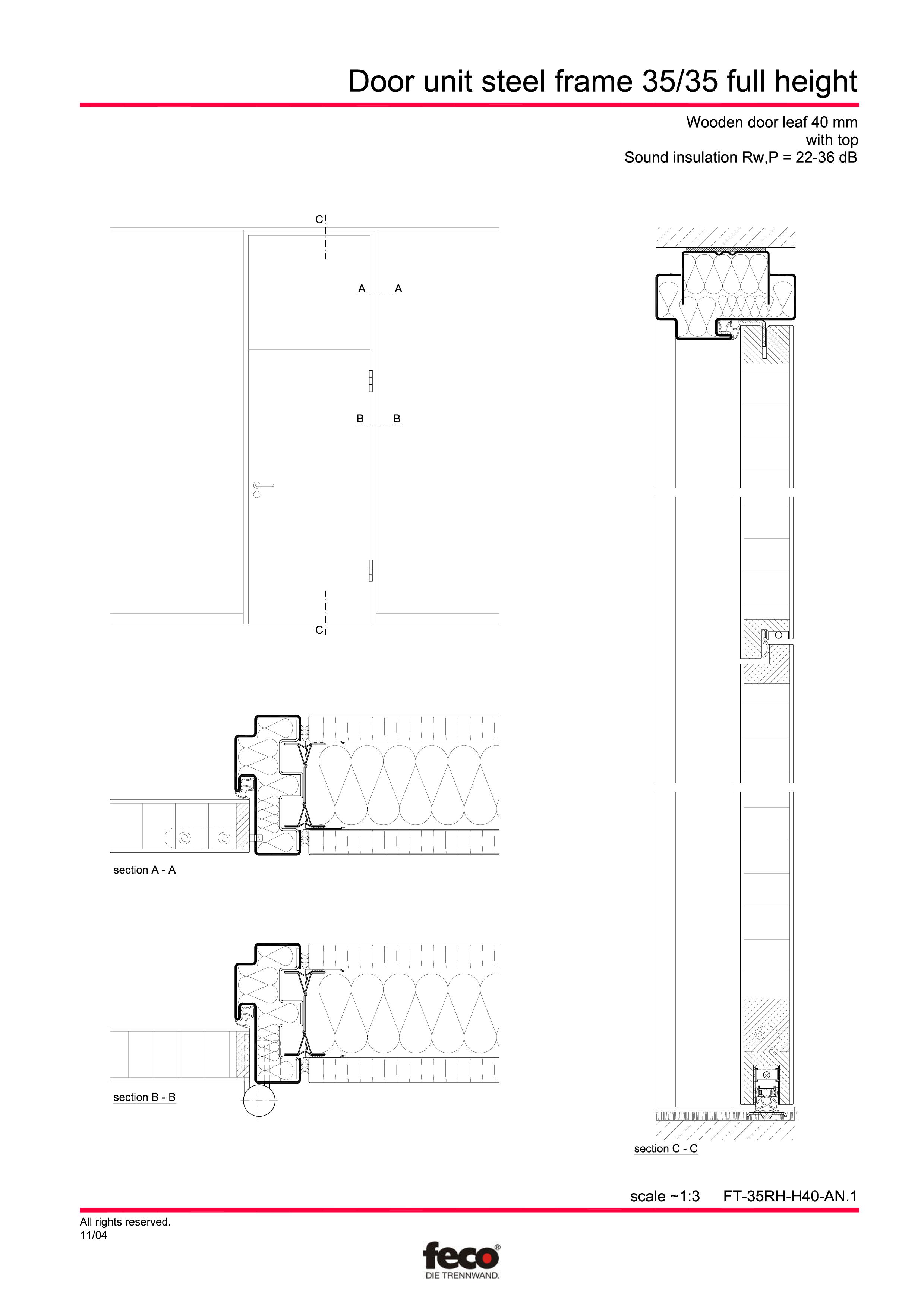 Pagina 1 - CAD-PDF Profile usi din otel (pana la planseu) FECO Detaliu de montaj