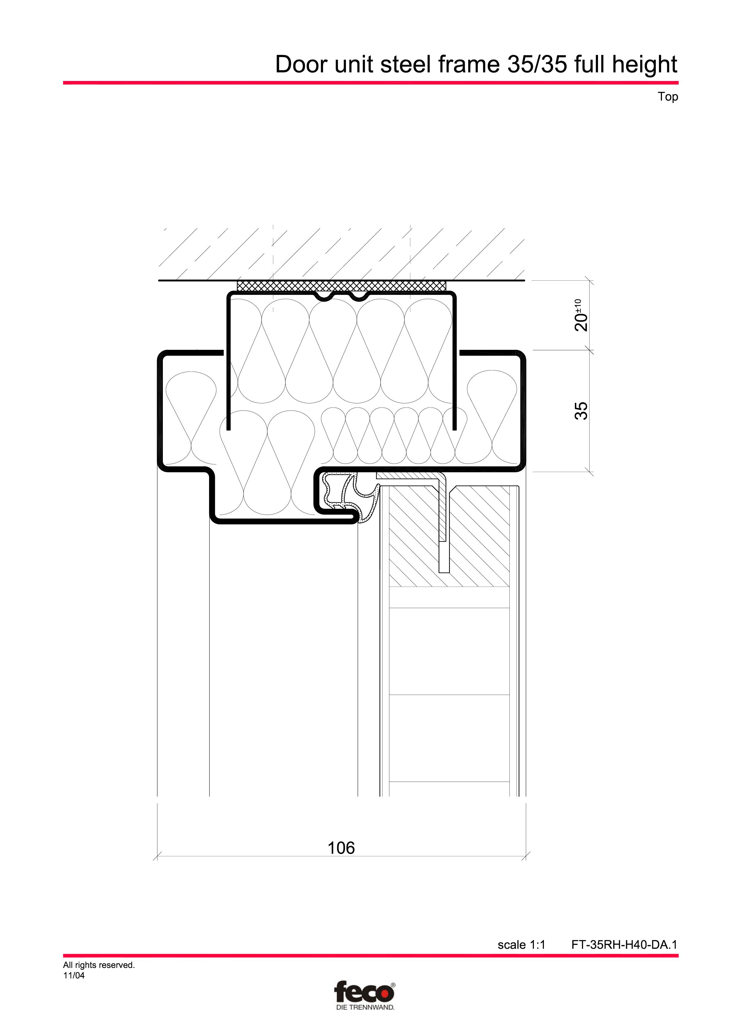 Pagina 4 - CAD-PDF Profile usi din otel (pana la planseu) FECO Detaliu de montaj