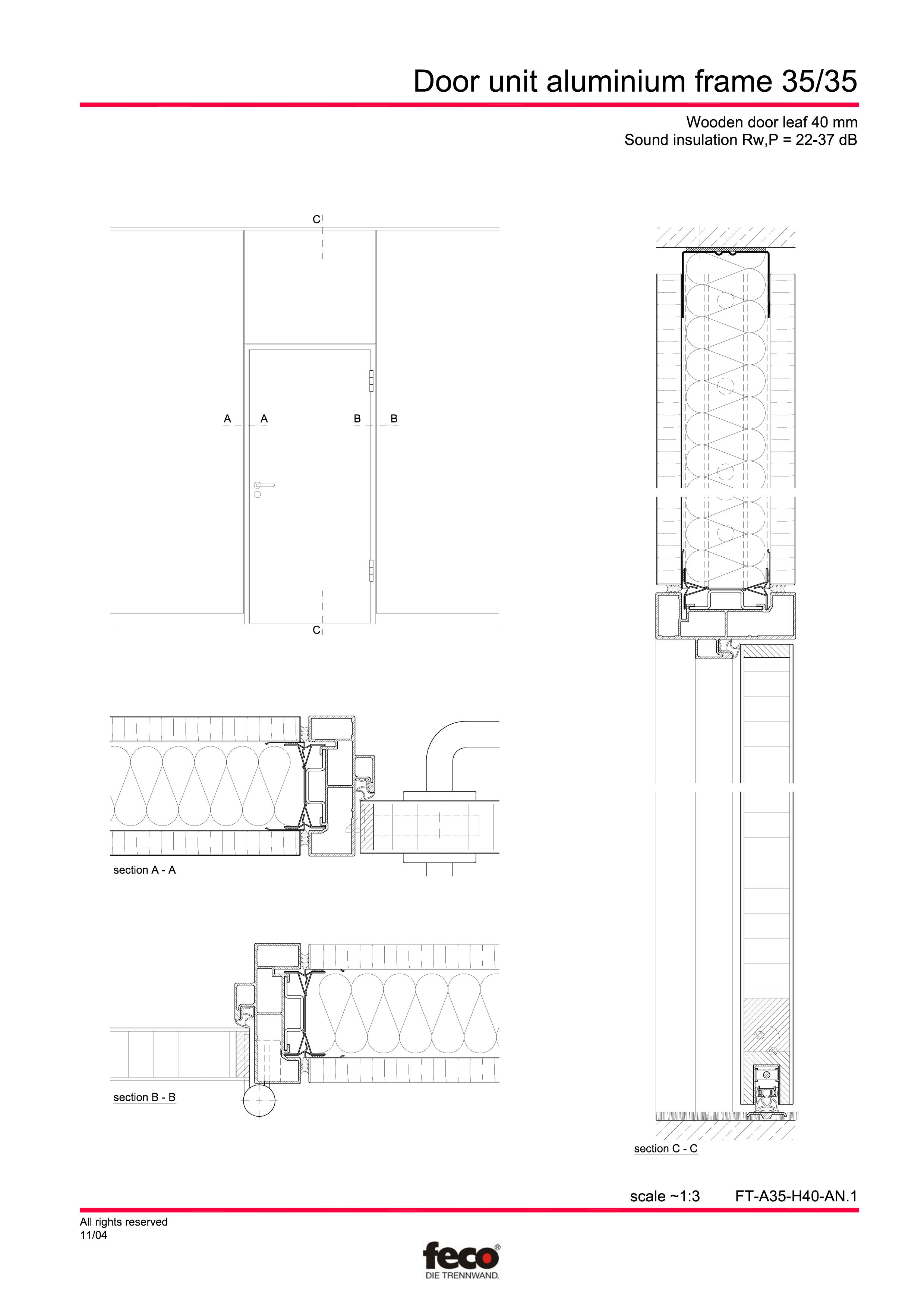 Pagina 1 - CAD-PDF Profile usi din aluminiu FECO Detaliu de montaj