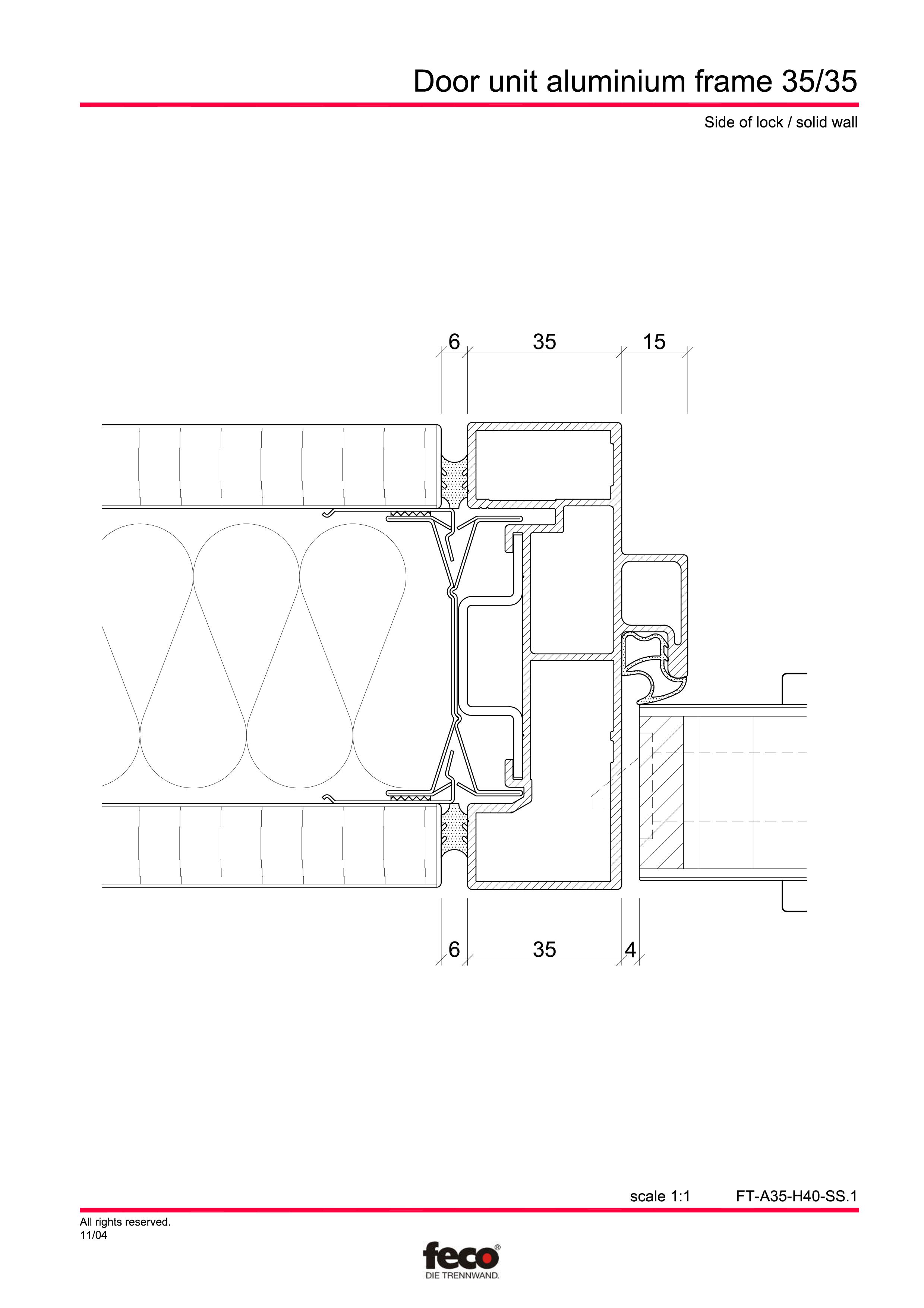 Pagina 2 - CAD-PDF Profile usi din aluminiu FECO Detaliu de montaj