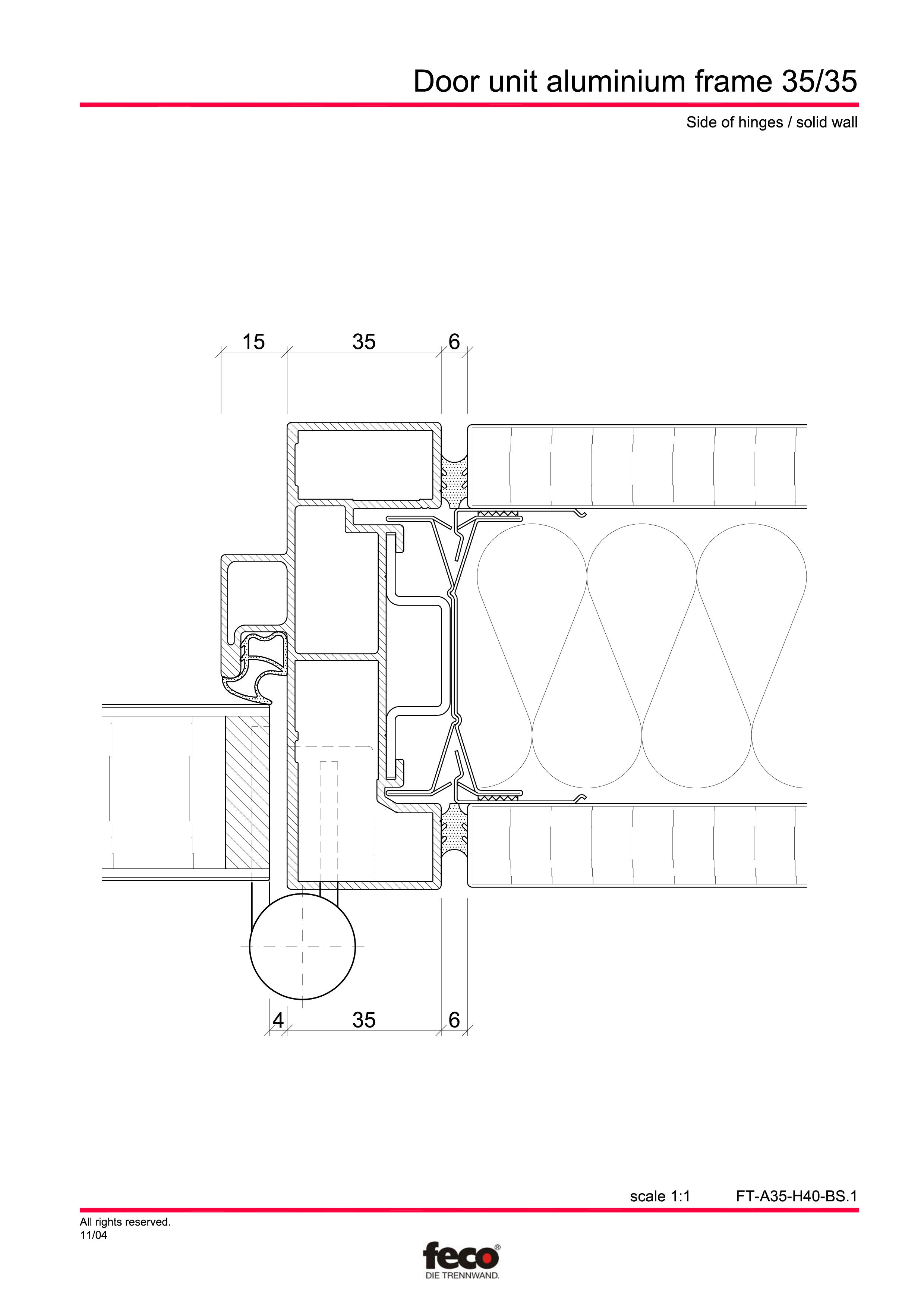 Pagina 3 - CAD-PDF Profile usi din aluminiu FECO Detaliu de montaj