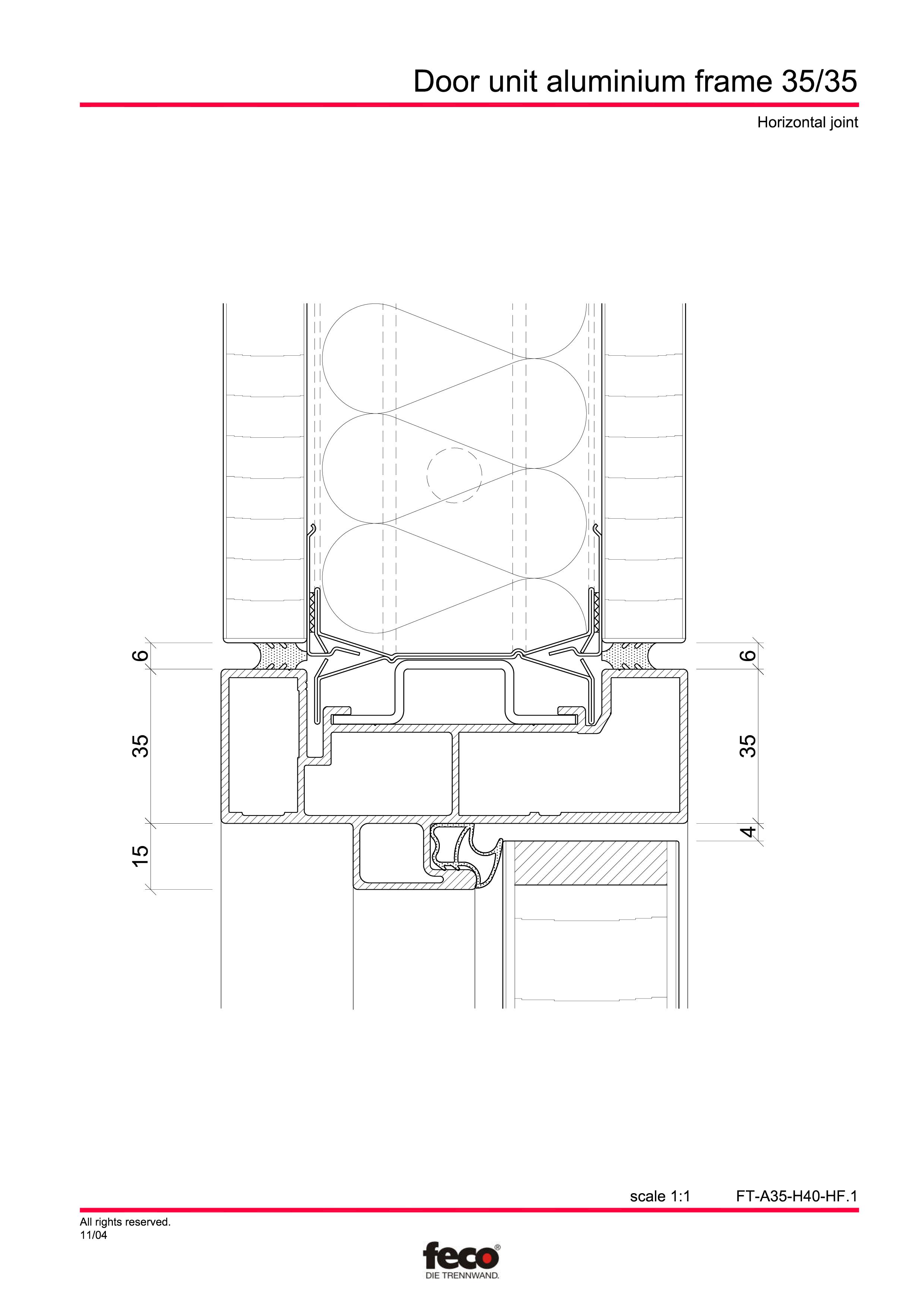 Pagina 5 - CAD-PDF Profile usi din aluminiu FECO Detaliu de montaj