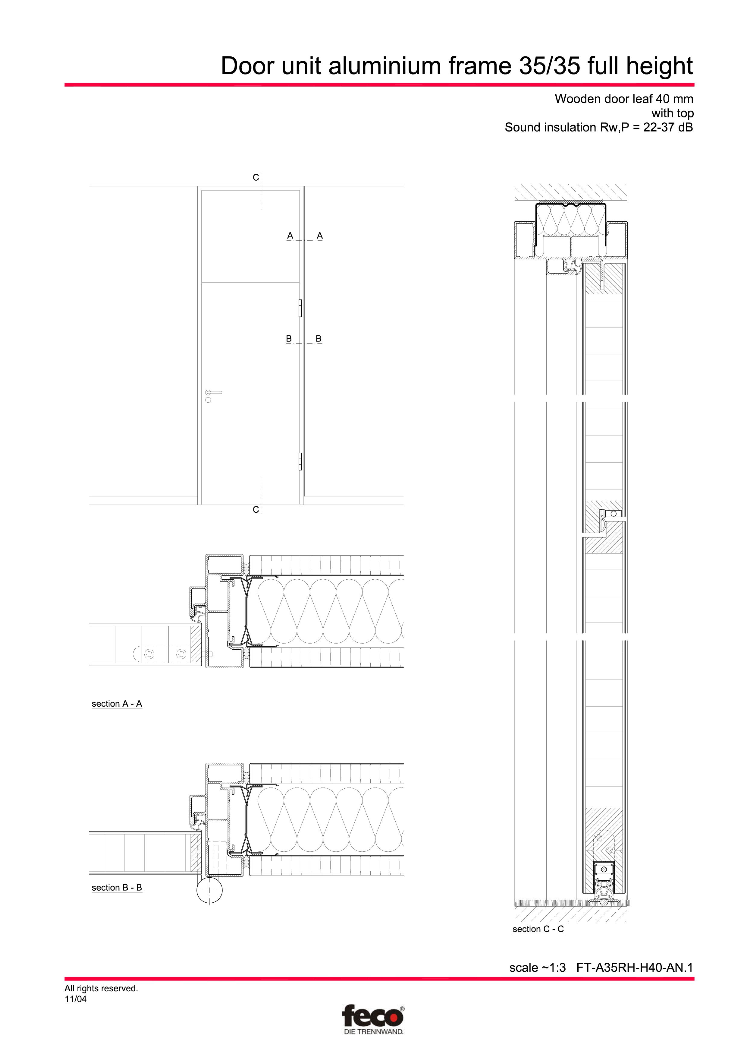 Pagina 1 - CAD-PDF Profile usi din aluminiu (pana la planseu) FECO Detaliu de montaj