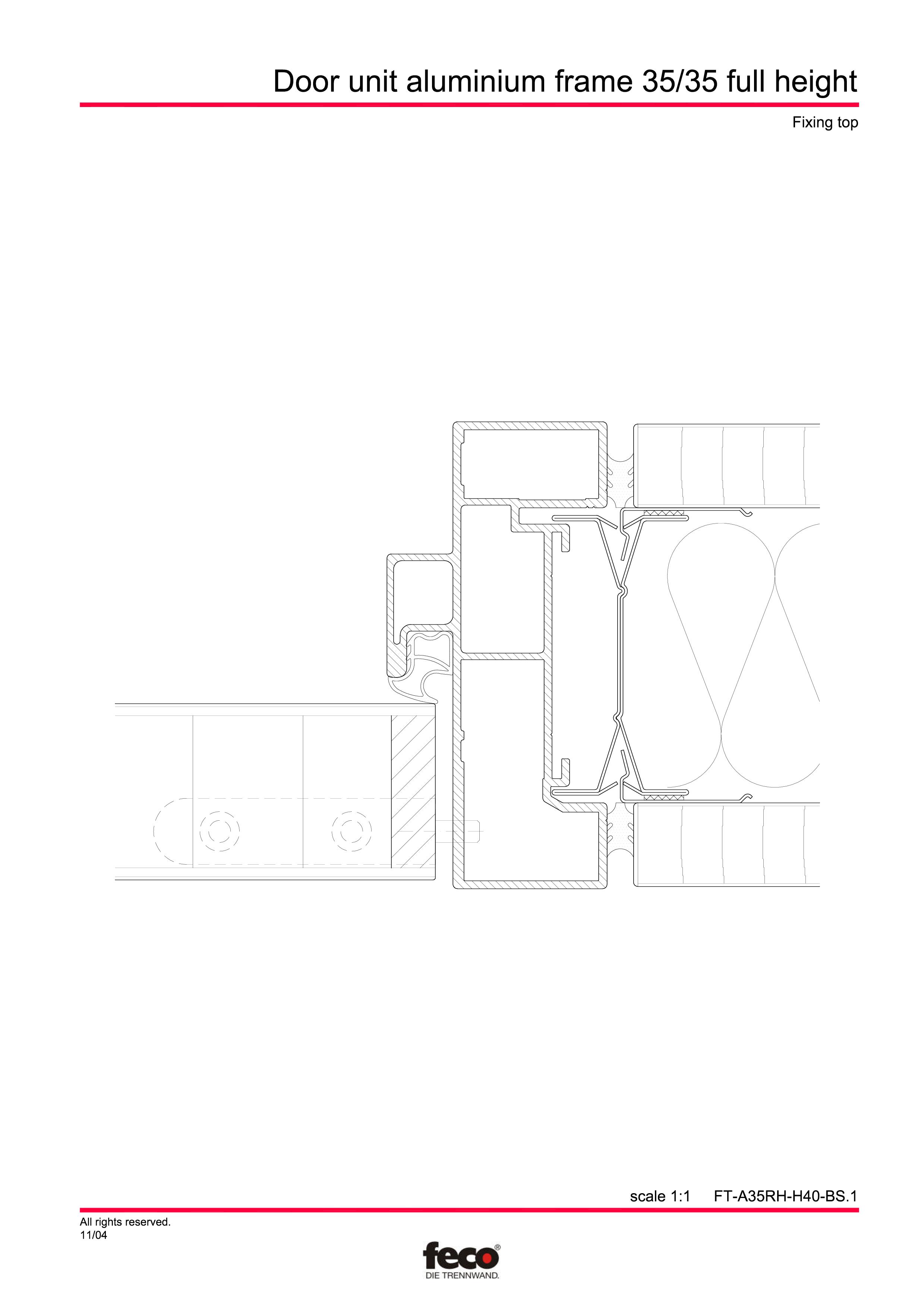 Pagina 2 - CAD-PDF Profile usi din aluminiu (pana la planseu) FECO Detaliu de montaj