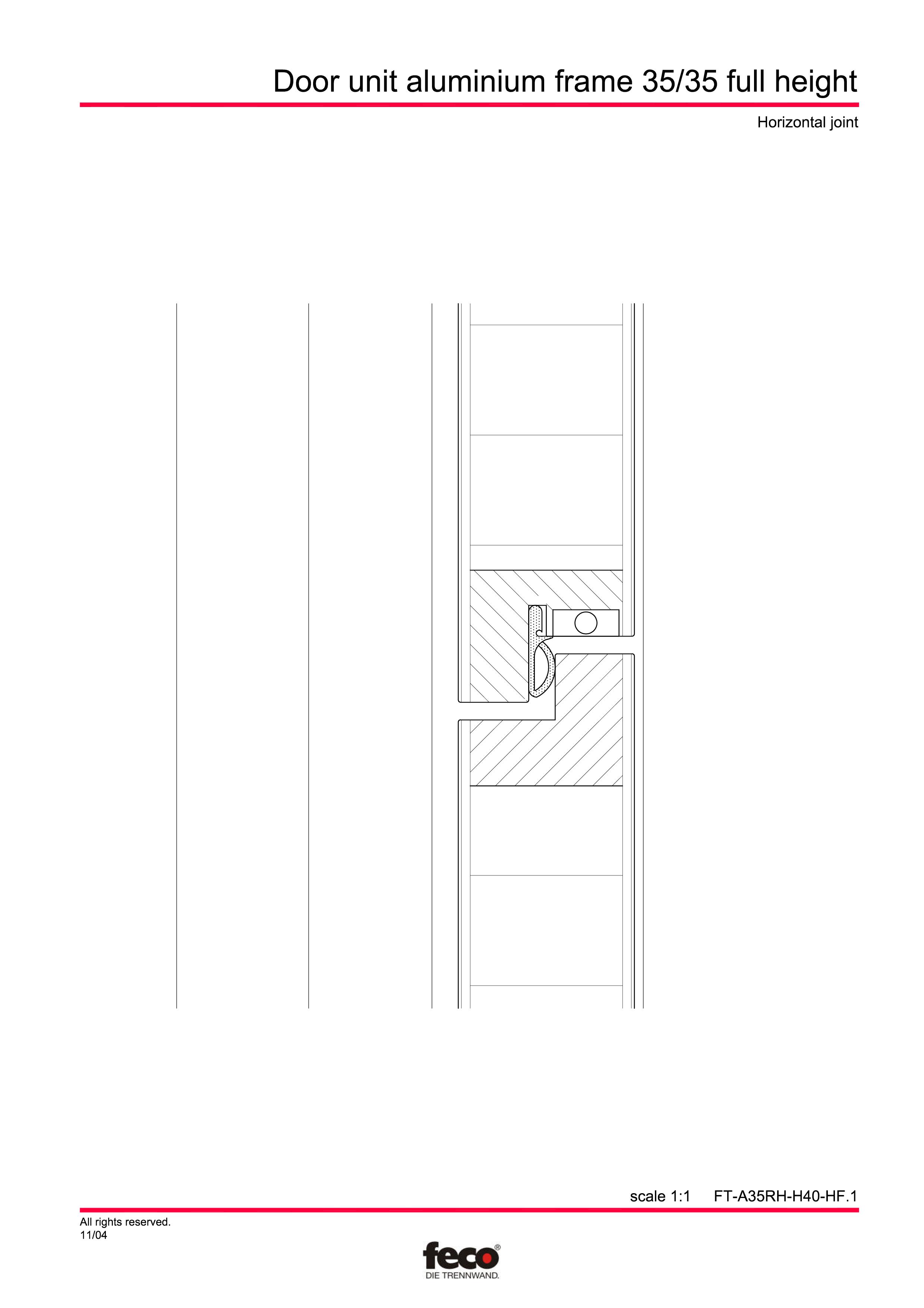 Pagina 3 - CAD-PDF Profile usi din aluminiu (pana la planseu) FECO Detaliu de montaj