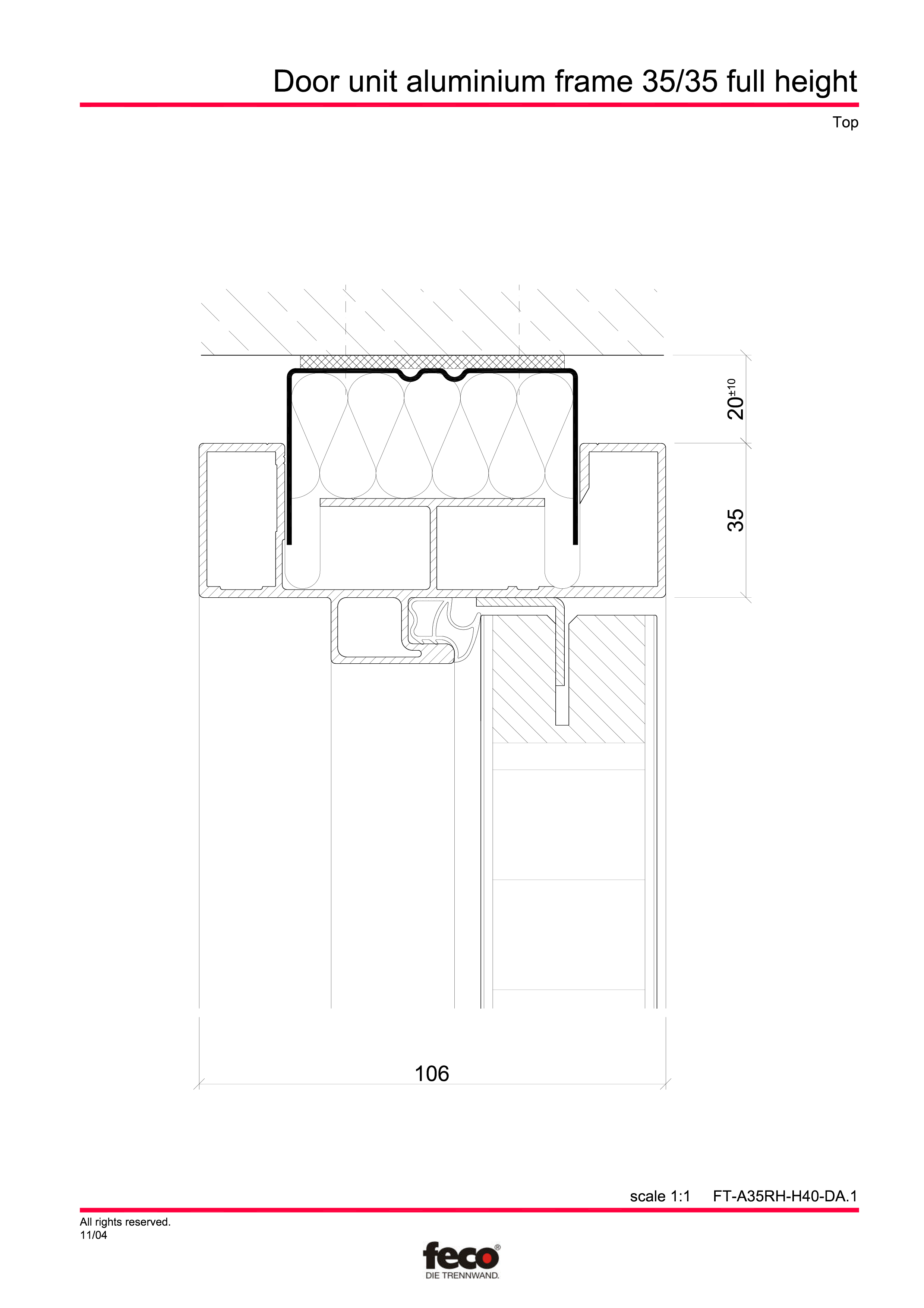 Pagina 4 - CAD-PDF Profile usi din aluminiu (pana la planseu) FECO Detaliu de montaj