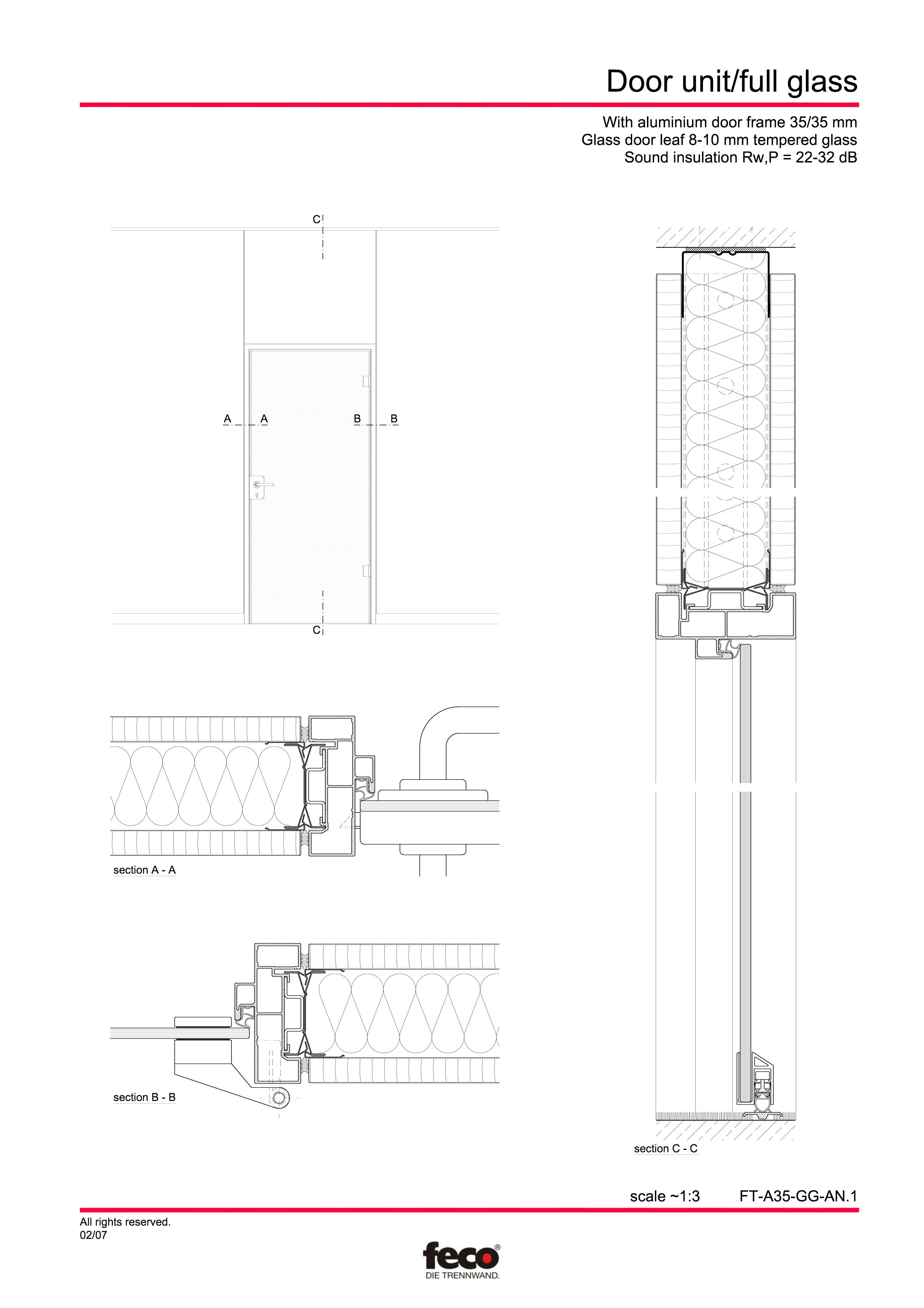 Pagina 1 - CAD-PDF Usa de sticla FECO Detaliu de montaj