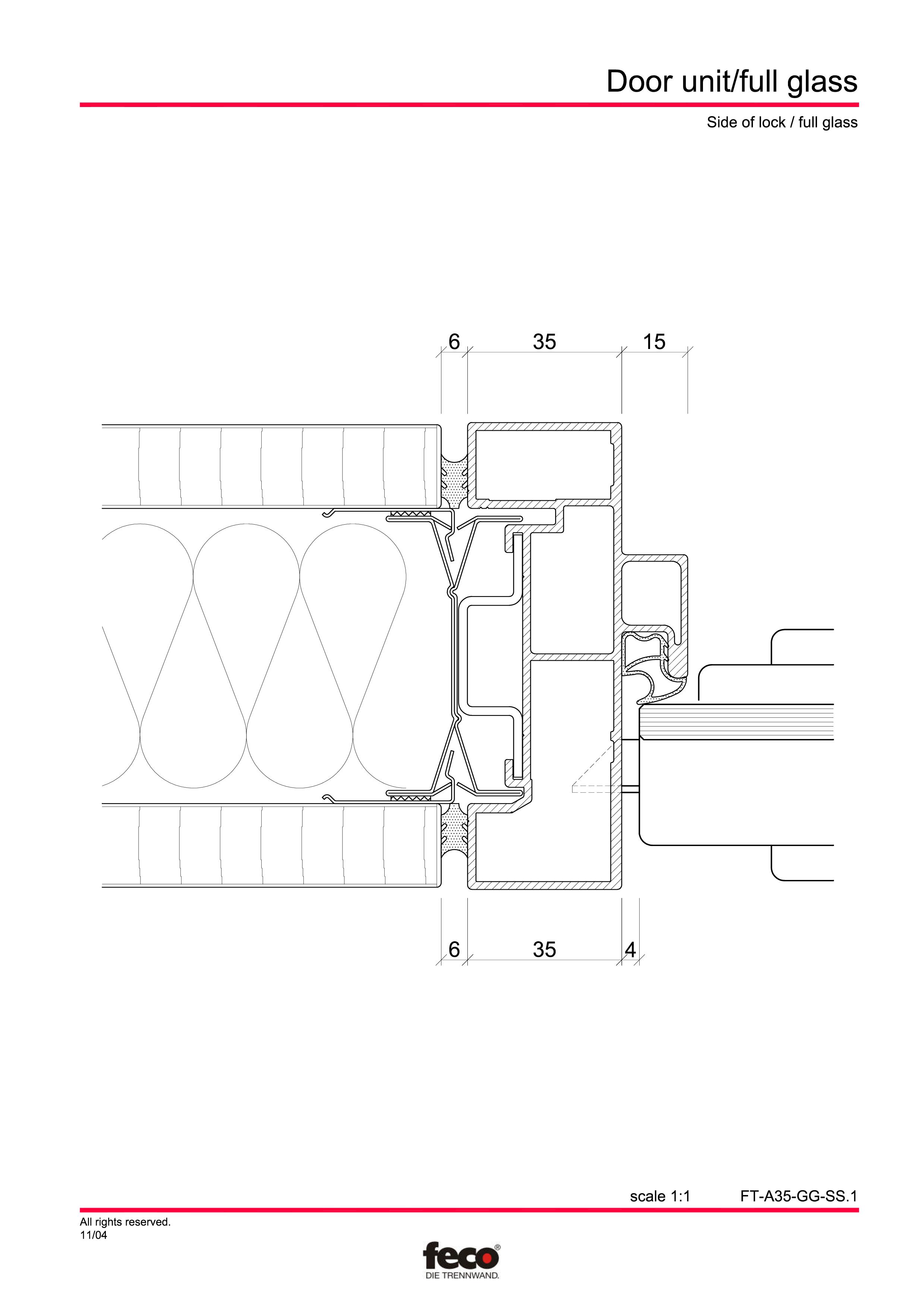 Pagina 2 - CAD-PDF Usa de sticla FECO Detaliu de montaj