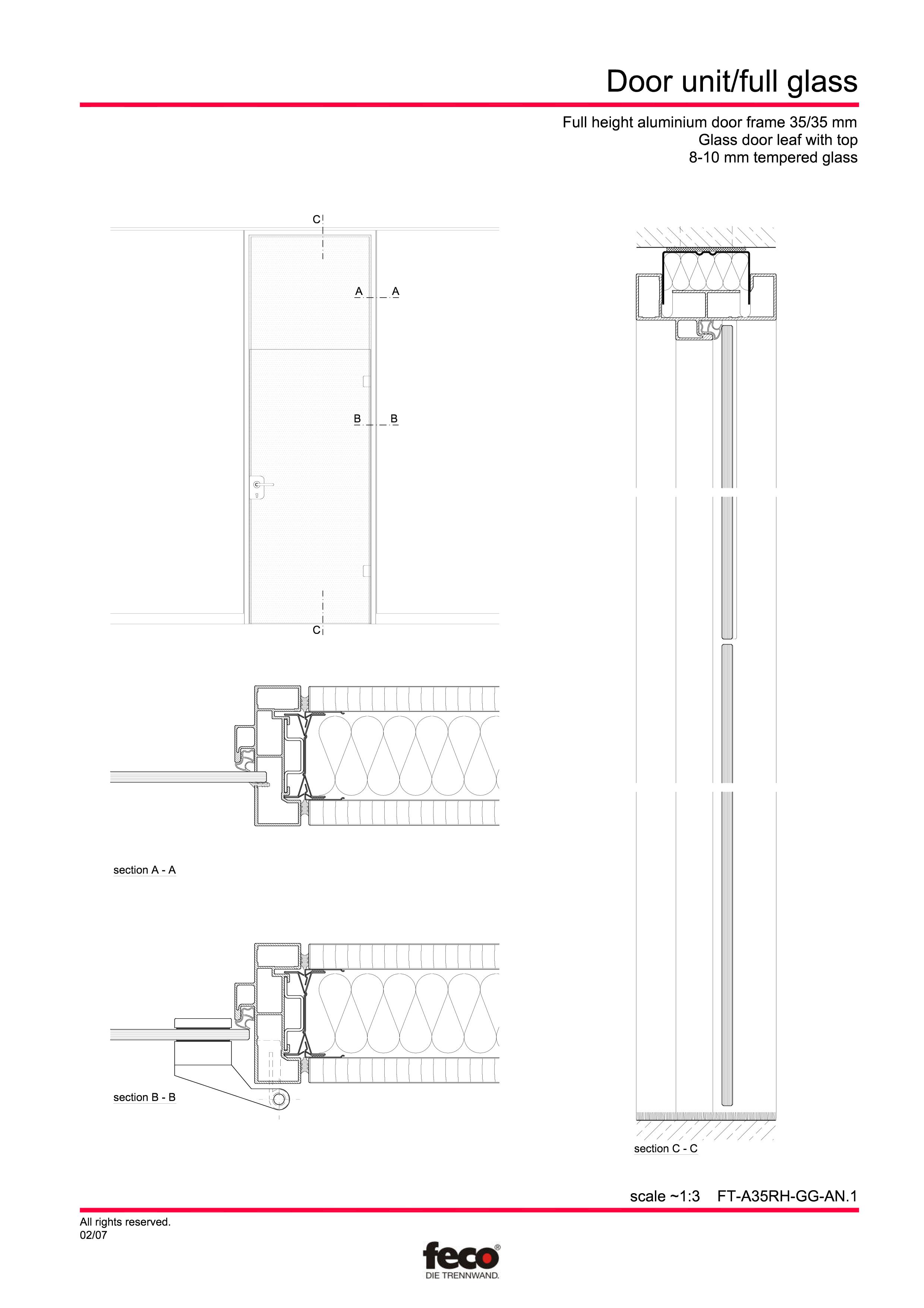 Pagina 1 - CAD-PDF Usa de sticla (pana la planseu) FECO Detaliu de montaj