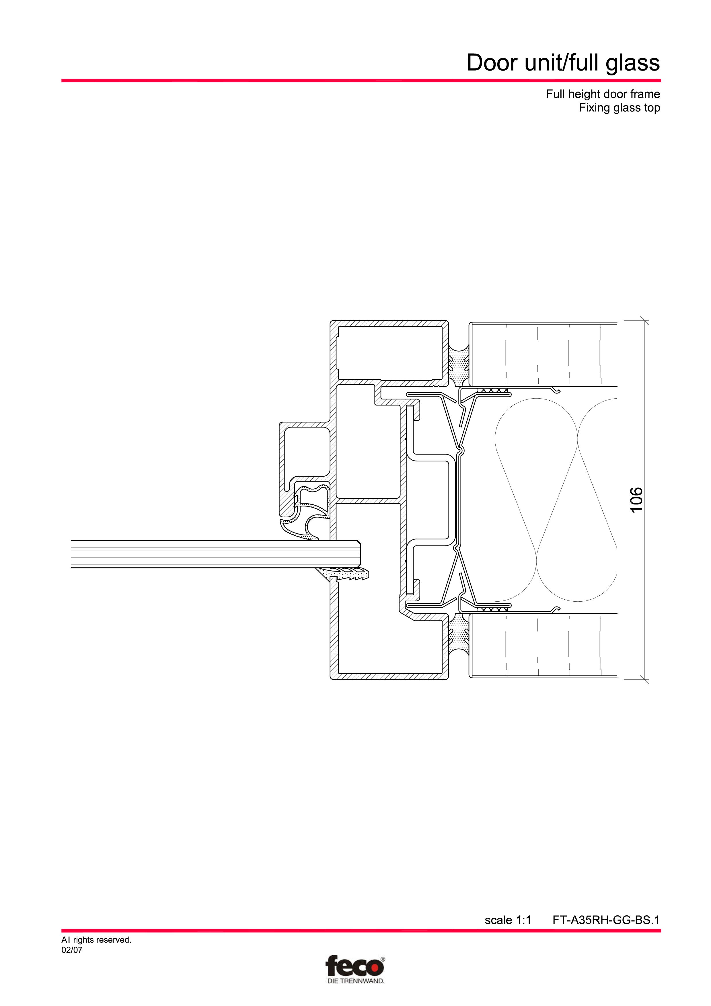 Pagina 2 - CAD-PDF Usa de sticla (pana la planseu) FECO Detaliu de montaj