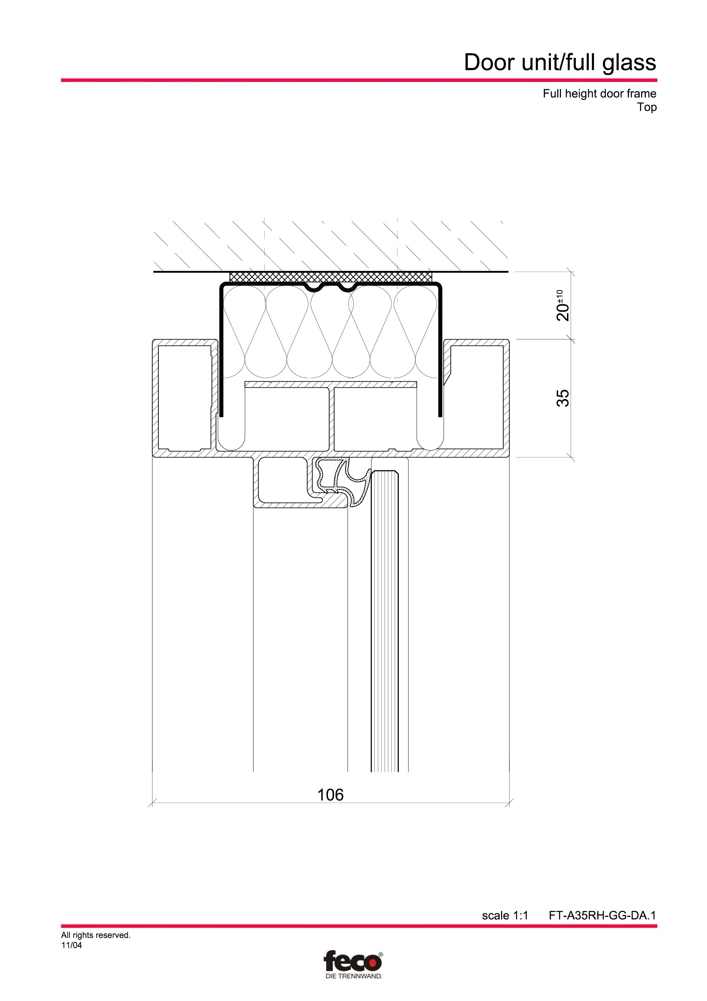Pagina 4 - CAD-PDF Usa de sticla (pana la planseu) FECO Detaliu de montaj