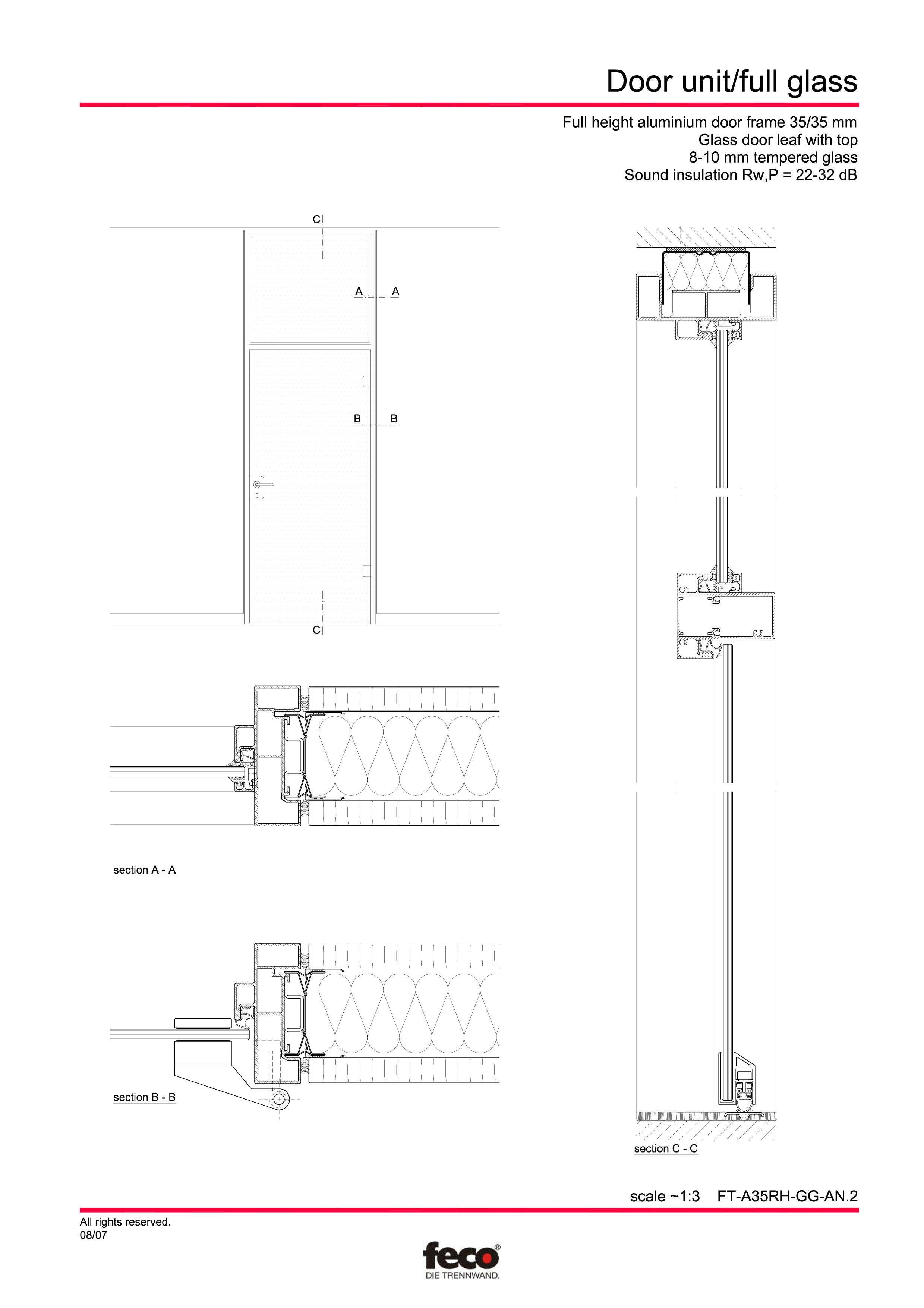Pagina 5 - CAD-PDF Usa de sticla (pana la planseu) FECO Detaliu de montaj