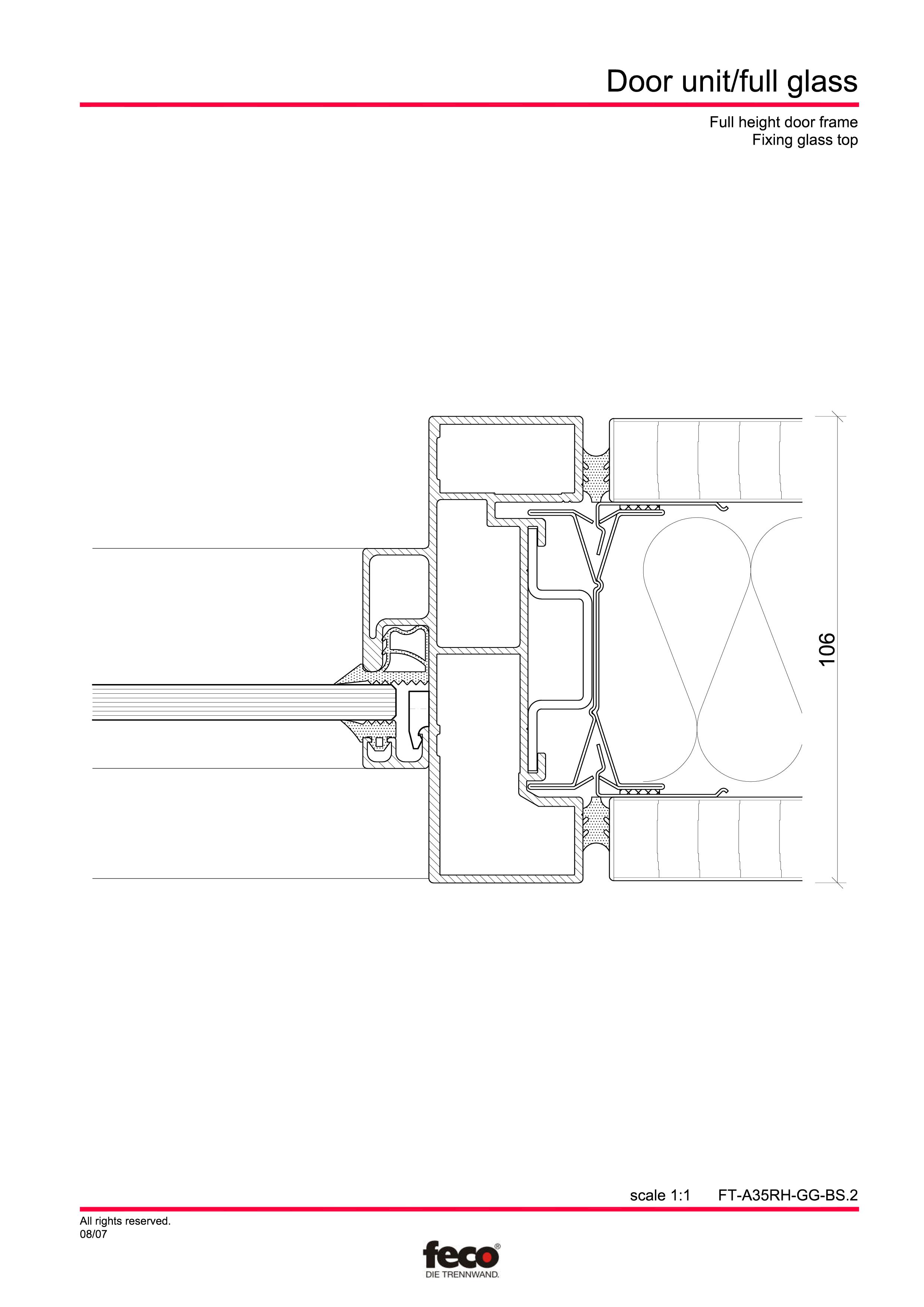 Pagina 7 - CAD-PDF Usa de sticla (pana la planseu) FECO Detaliu de montaj
