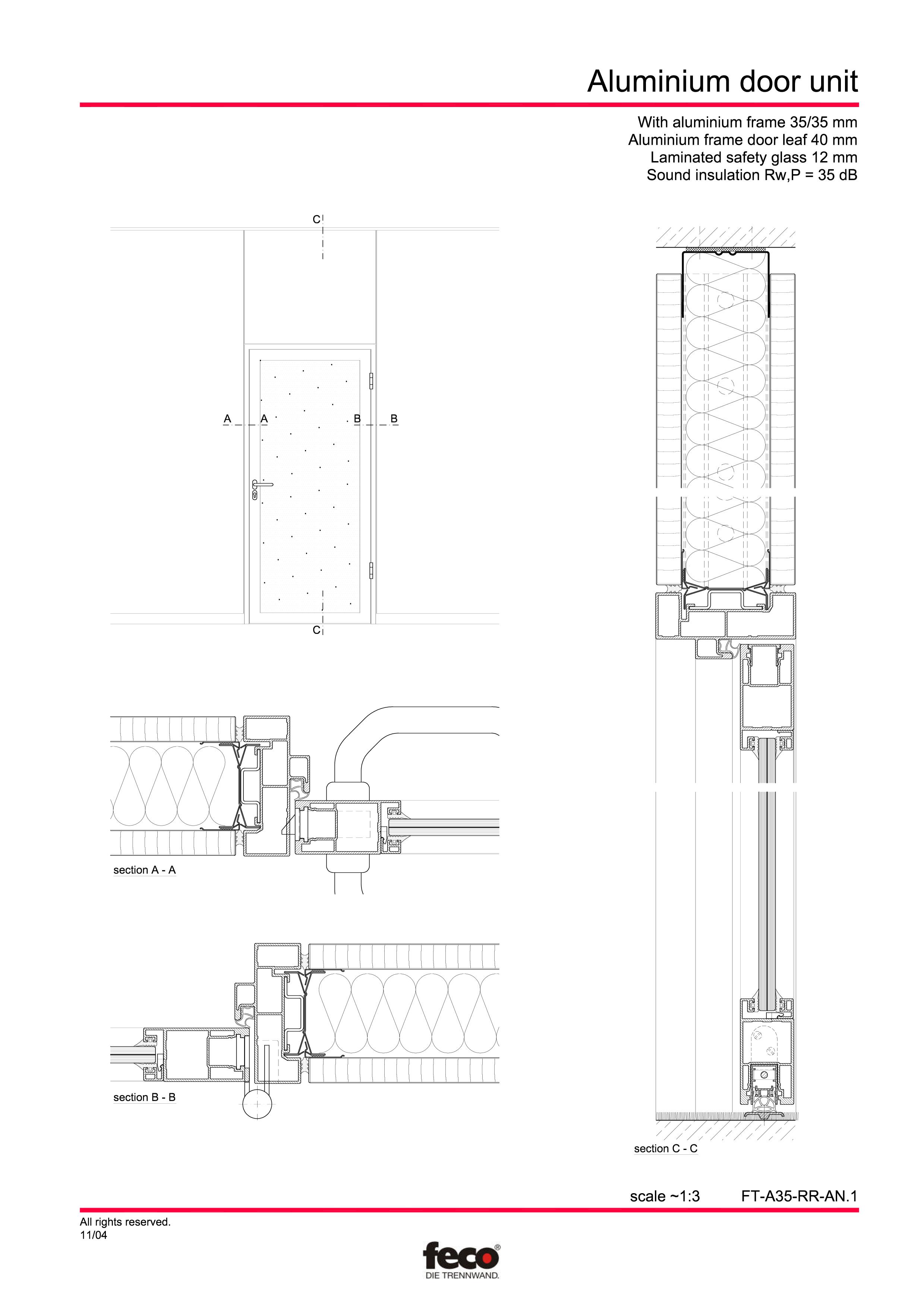 Pagina 1 - CAD-PDF Usa din aluminiu FECO Detaliu de montaj