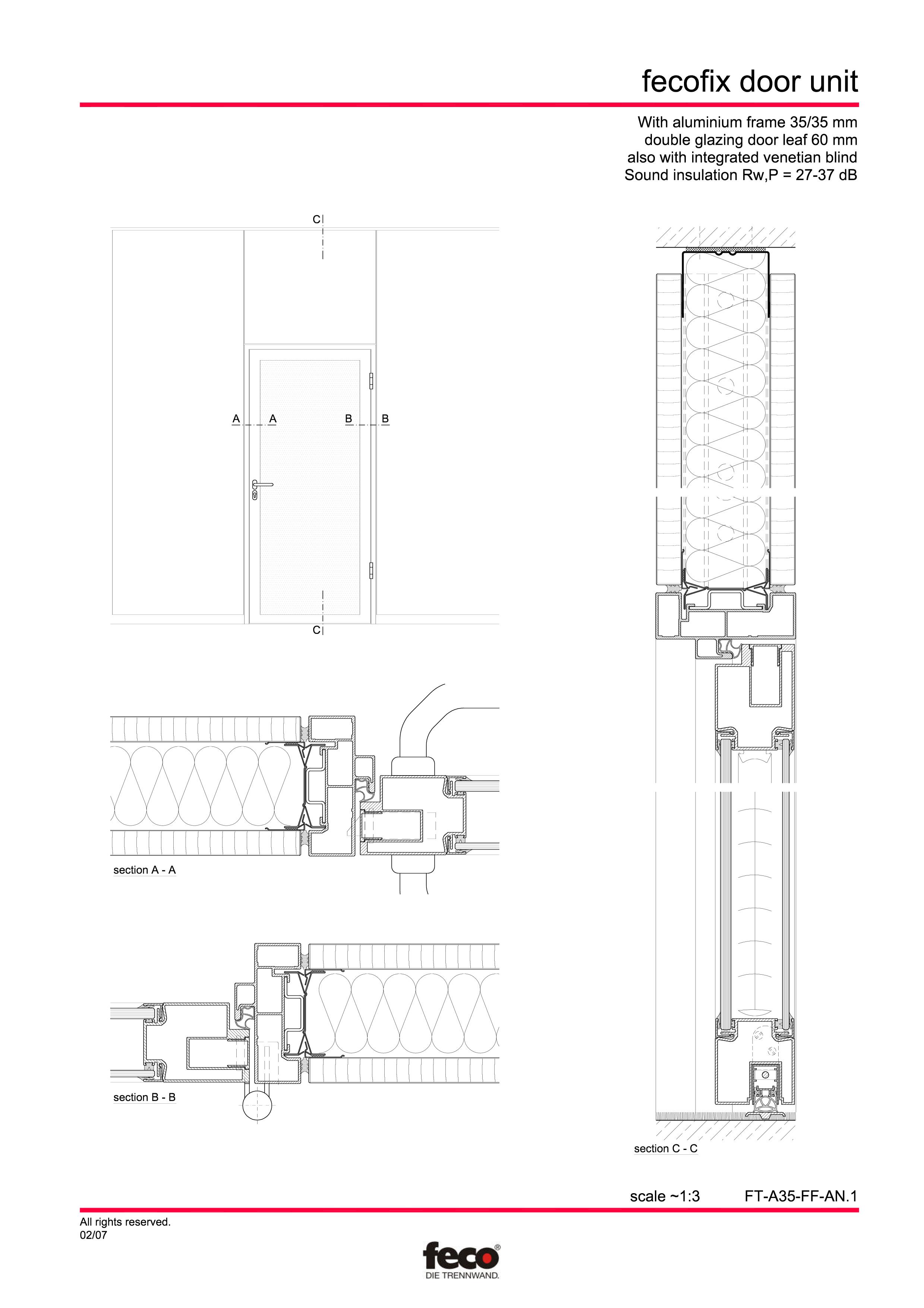 Pagina 1 - CAD-PDF Usa din aluminiu cu dublu vitraj FECO Detaliu de montaj FecoFix