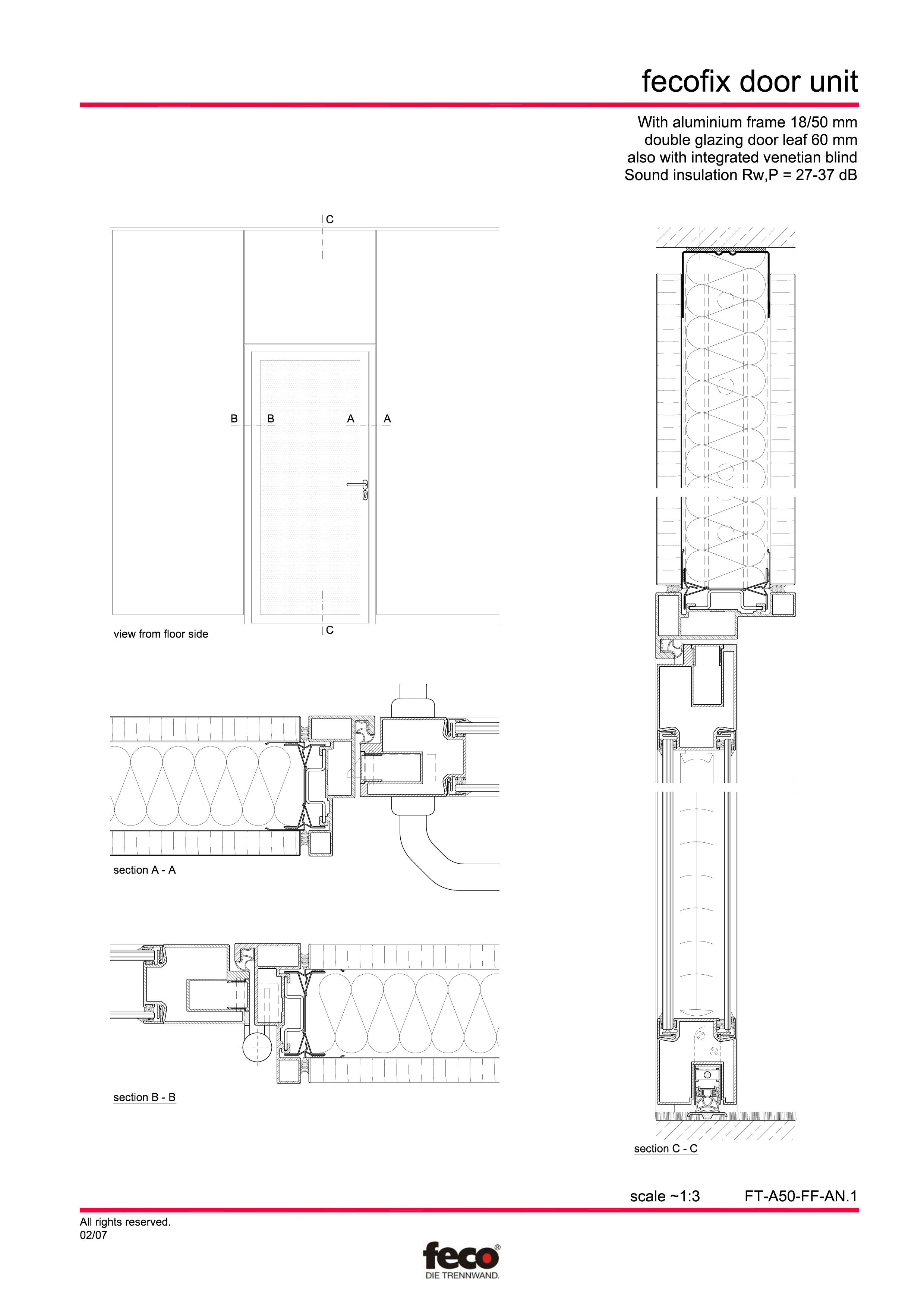Pagina 2 - CAD-PDF Usa din aluminiu cu dublu vitraj FECO Detaliu de montaj FecoFix