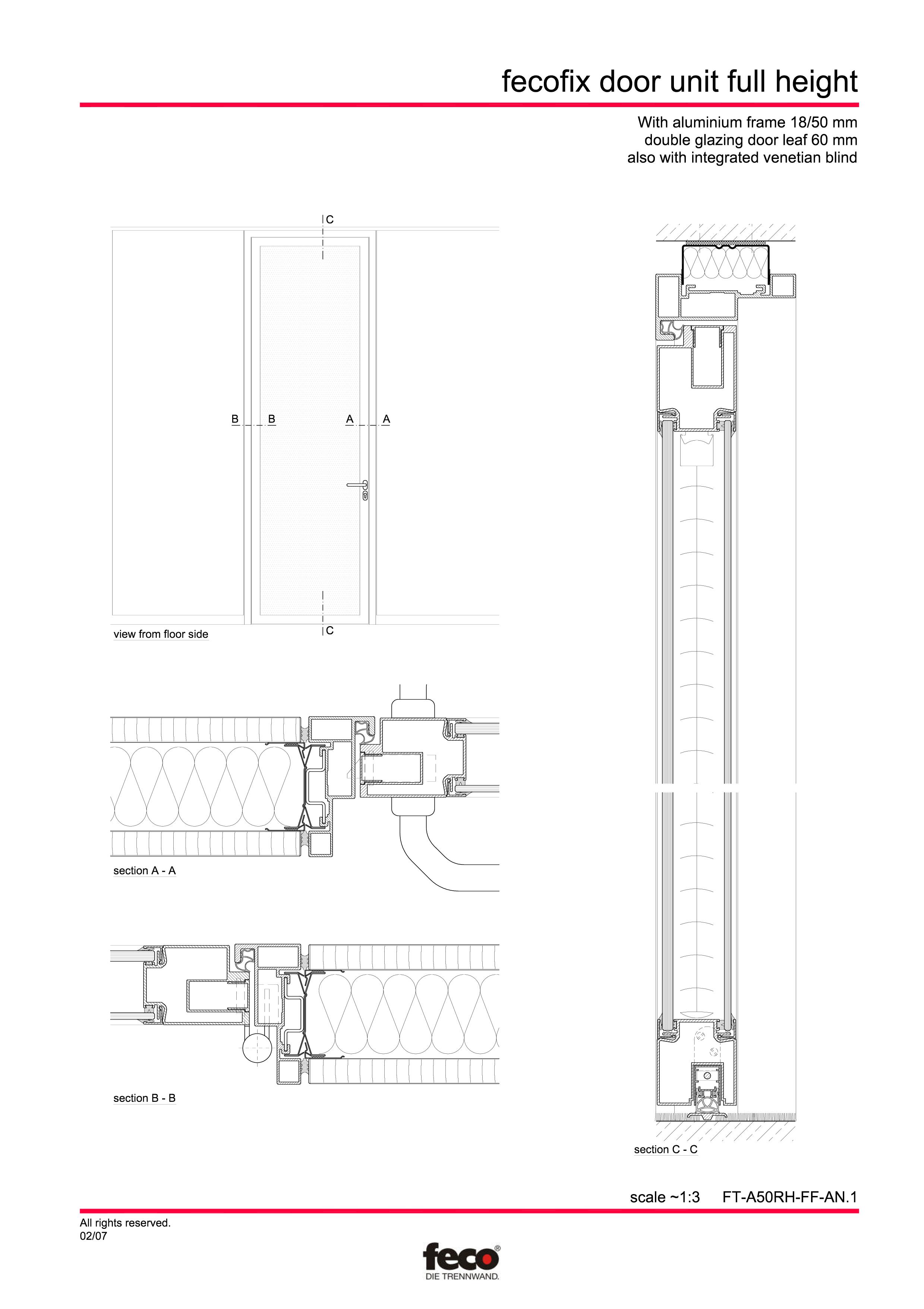 Pagina 1 - CAD-PDF Usa din aluminiu cu dublu vitraj (pana la planseu) FECO Detaliu de montaj FecoFix...