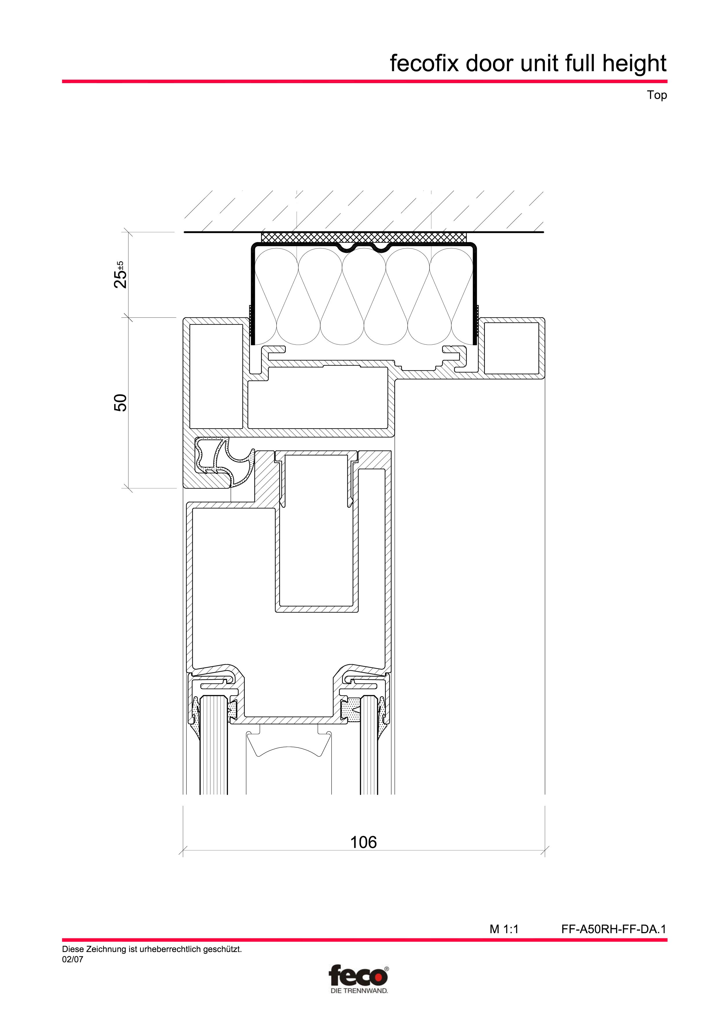 Pagina 2 - CAD-PDF Usa din aluminiu cu dublu vitraj (pana la planseu) FECO Detaliu de montaj FecoFix...