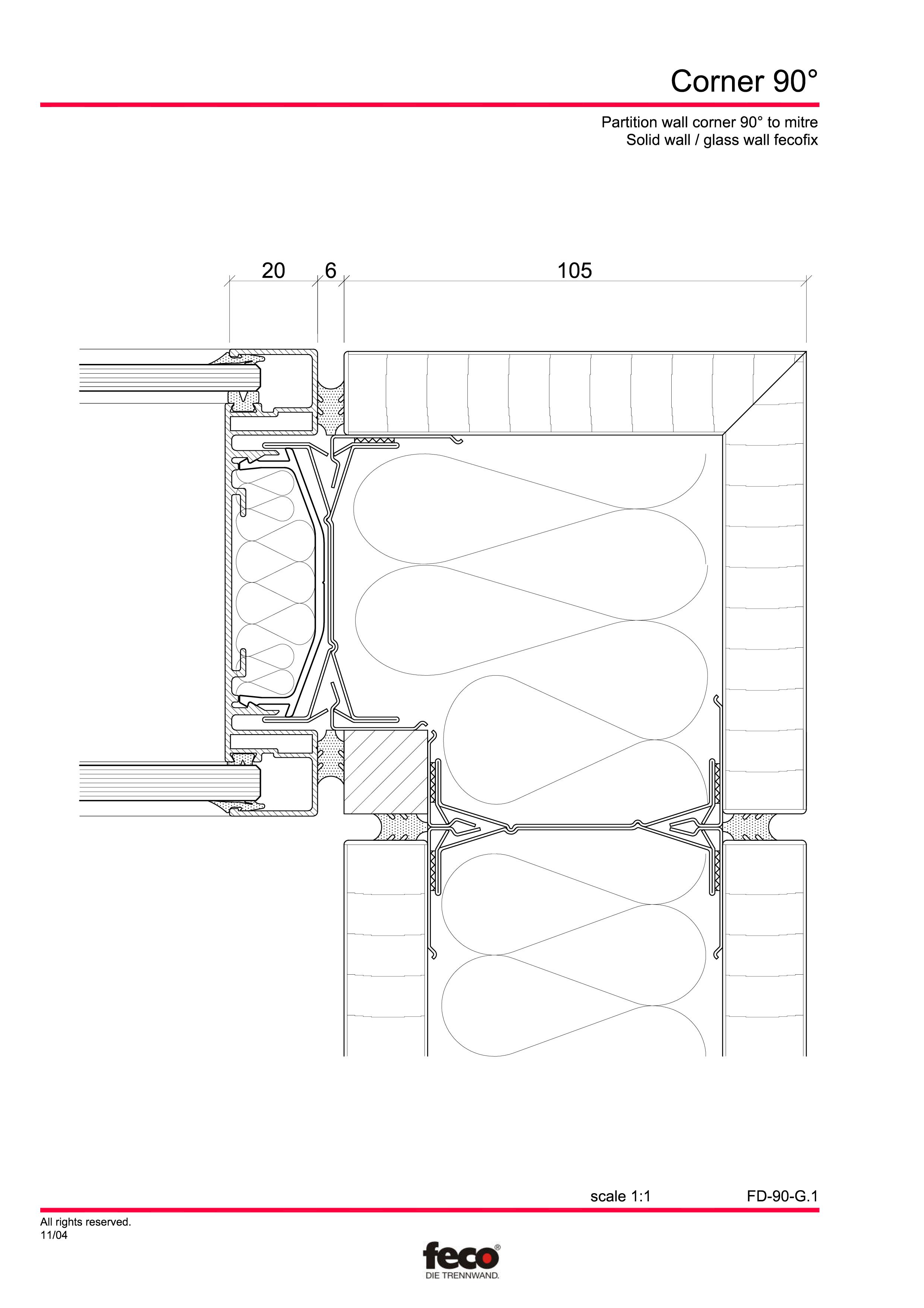 Pagina 1 - CAD-PDF Detaliu de colt, imbinare pereti de compartimentare FECO Detaliu de montaj...