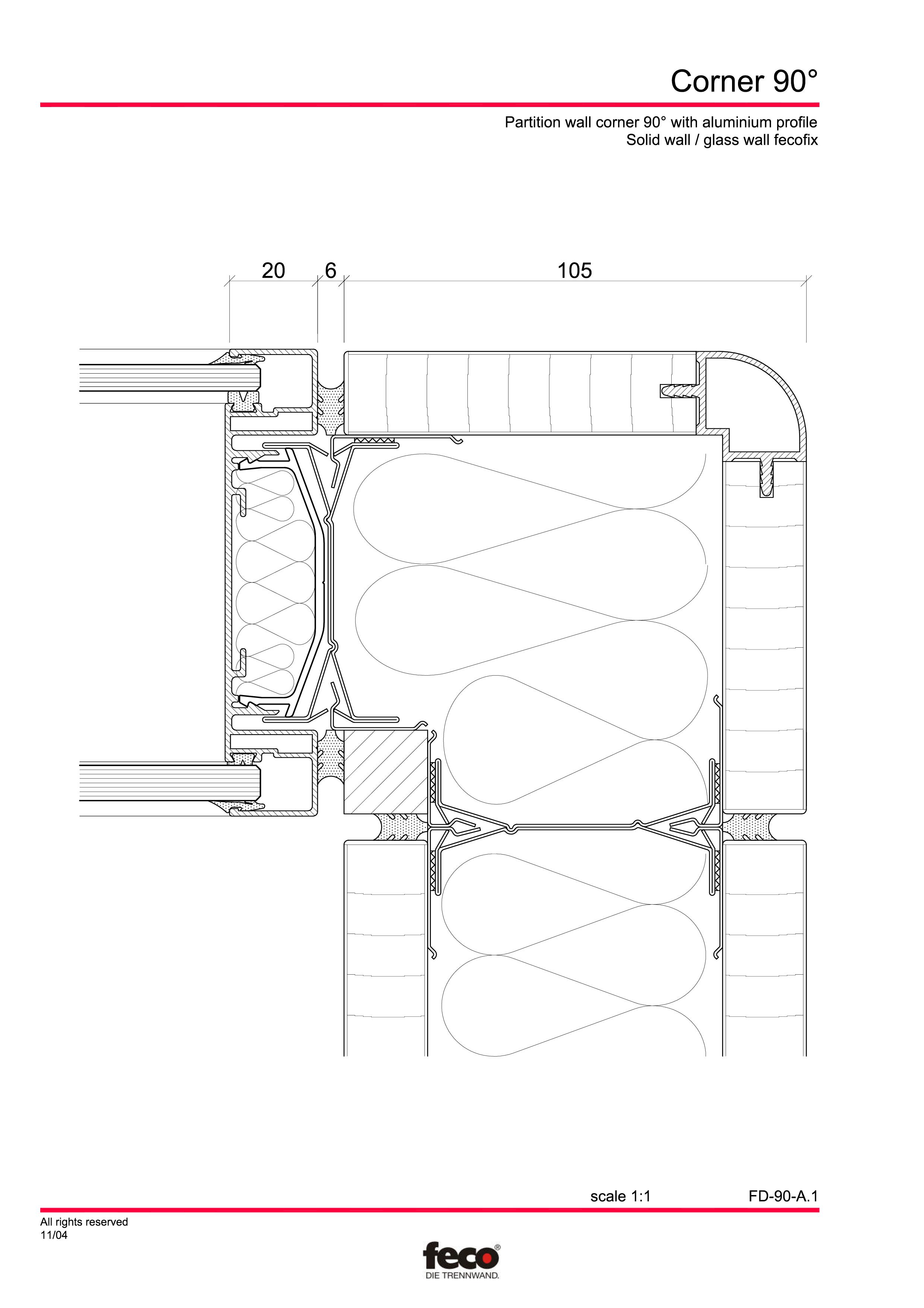 Pagina 2 - CAD-PDF Detaliu de colt, imbinare pereti de compartimentare FECO Detaliu de montaj...