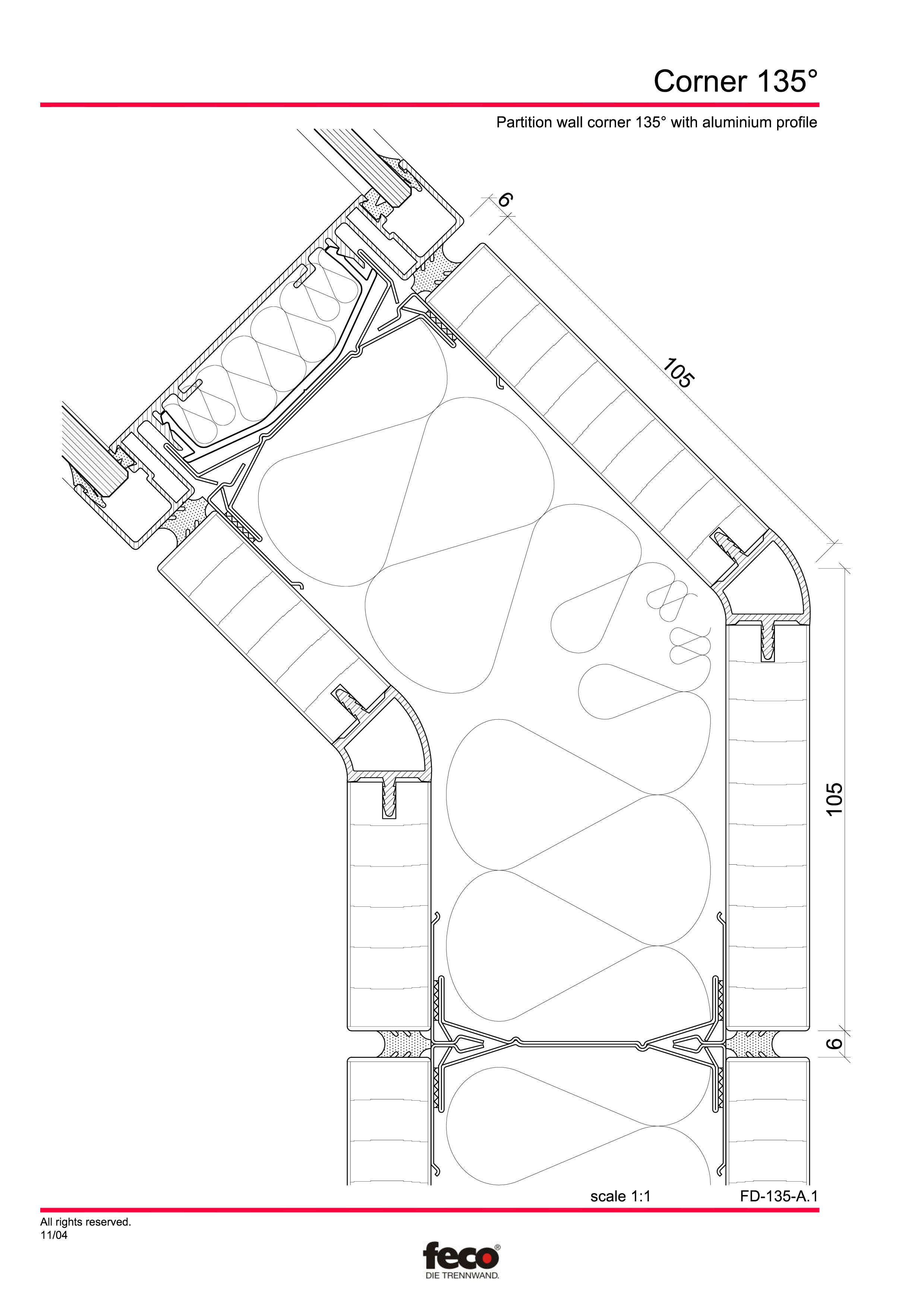 Pagina 3 - CAD-PDF Detaliu de colt, imbinare pereti de compartimentare FECO Detaliu de montaj...