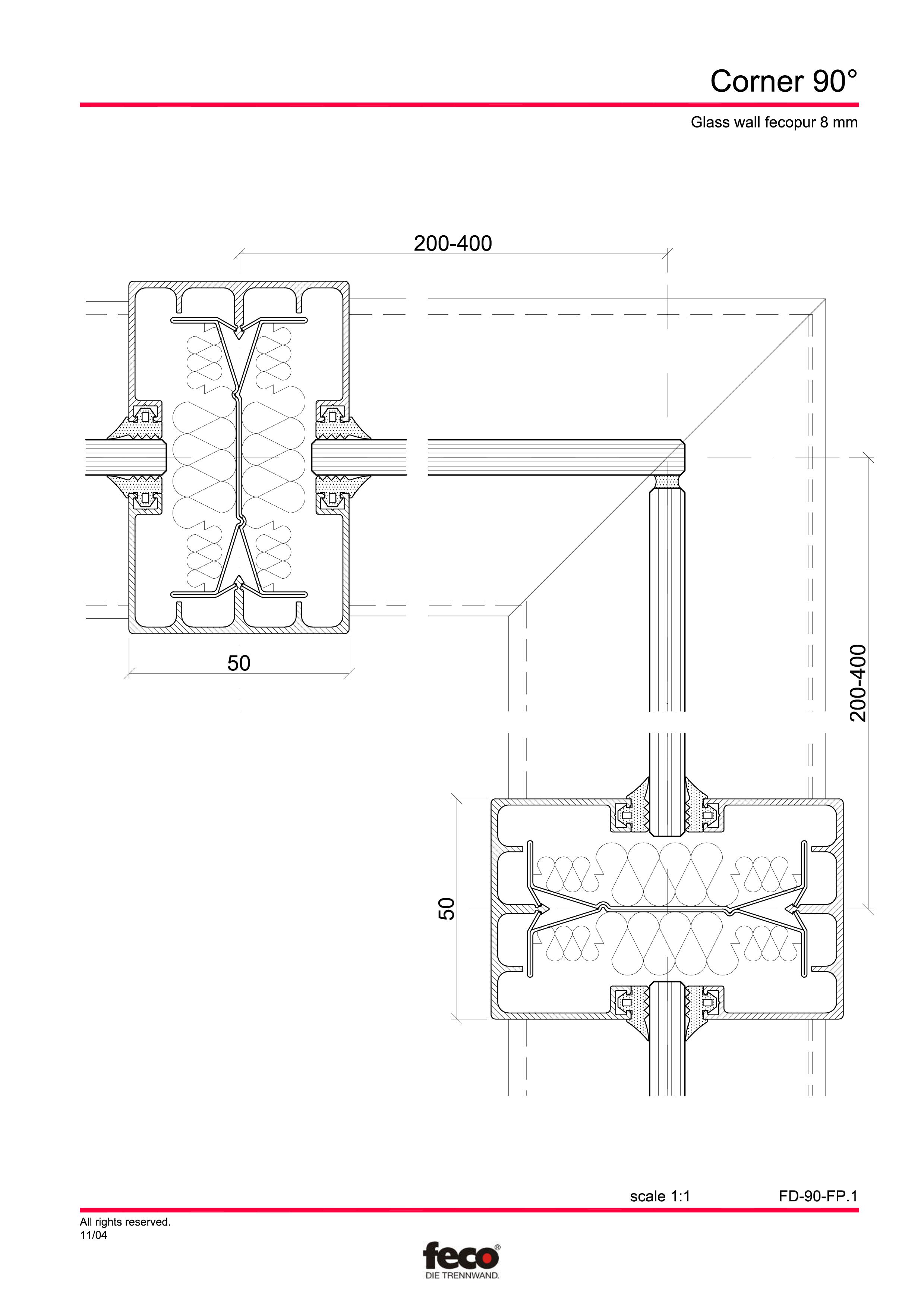 Pagina 4 - CAD-PDF Detaliu de colt, imbinare pereti de compartimentare FECO Detaliu de montaj...