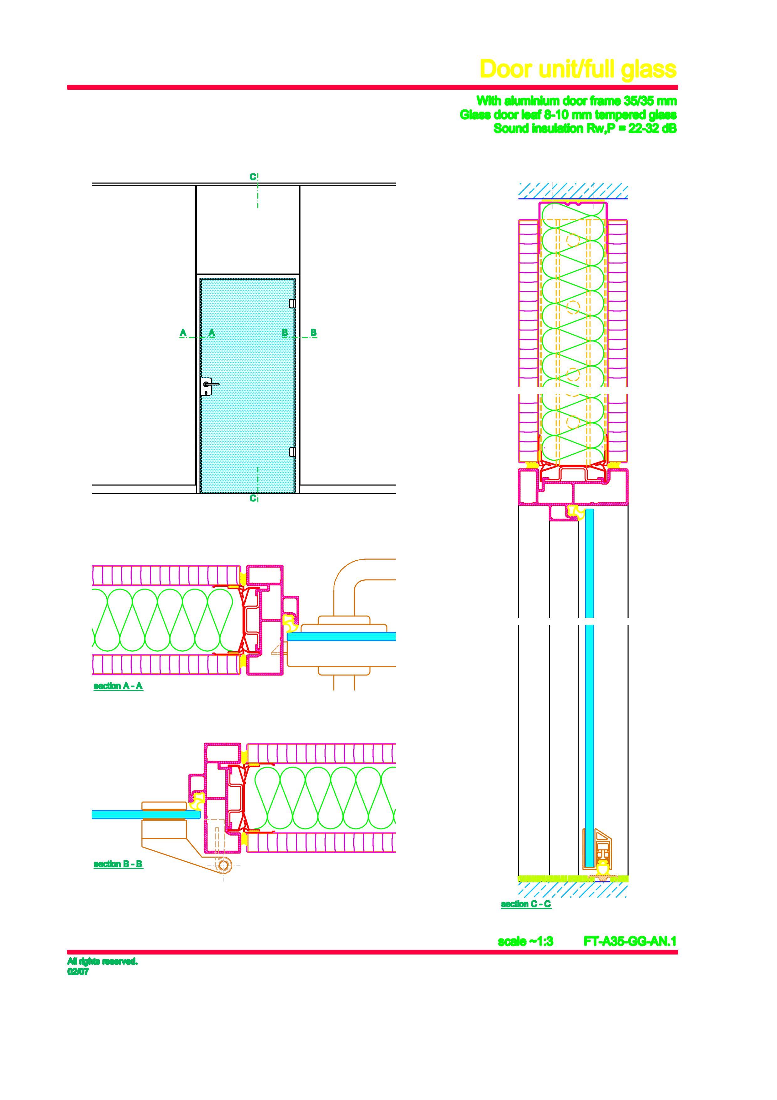 Pagina 1 - CAD-PDF Usa de sticla (pana la planseu) FECO Detaliu de montaj FecoPur