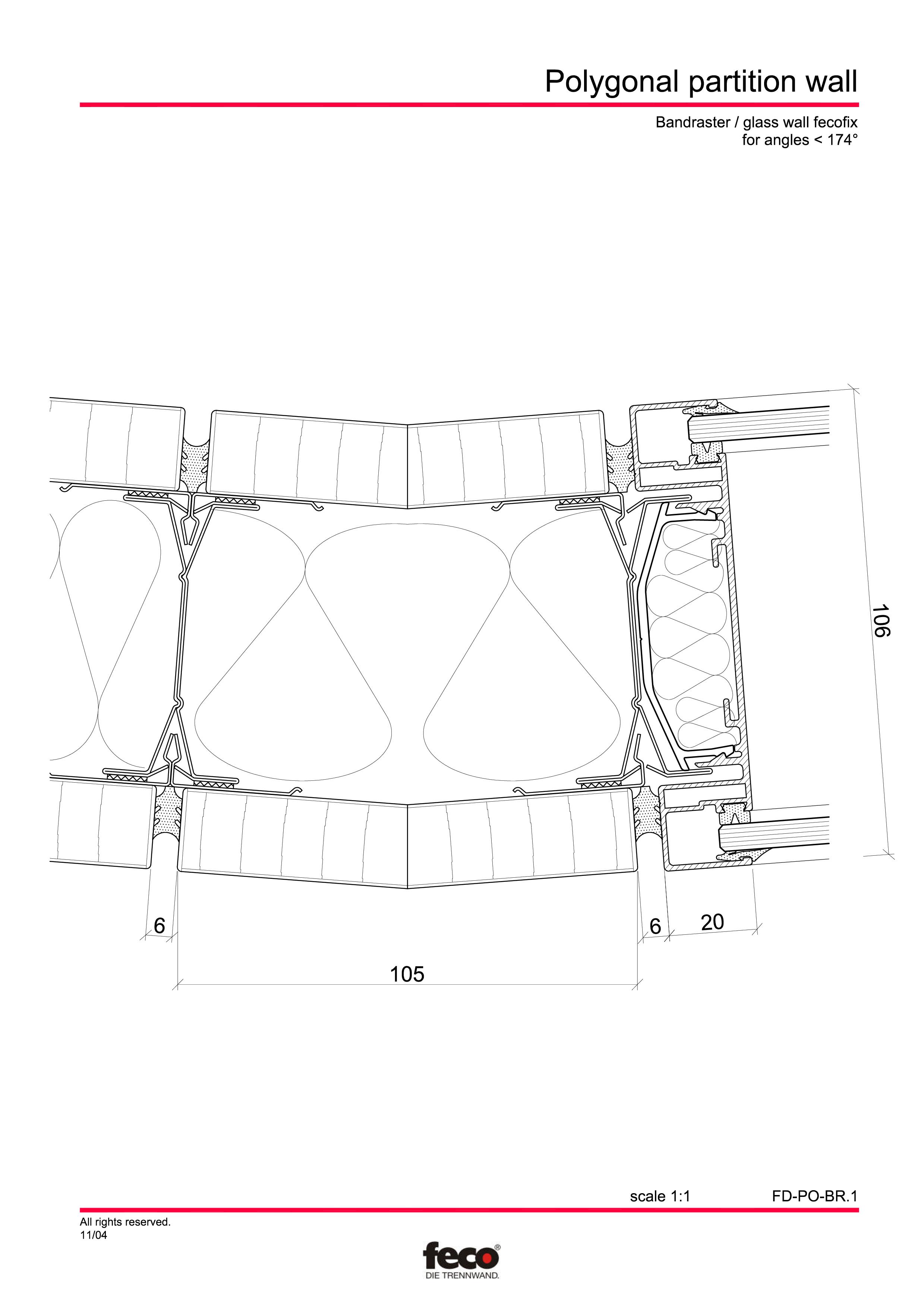 Pagina 1 - CAD-PDF Pereti de compartimentare poligonali FECO Detaliu de montaj FecoFix, FecoPur