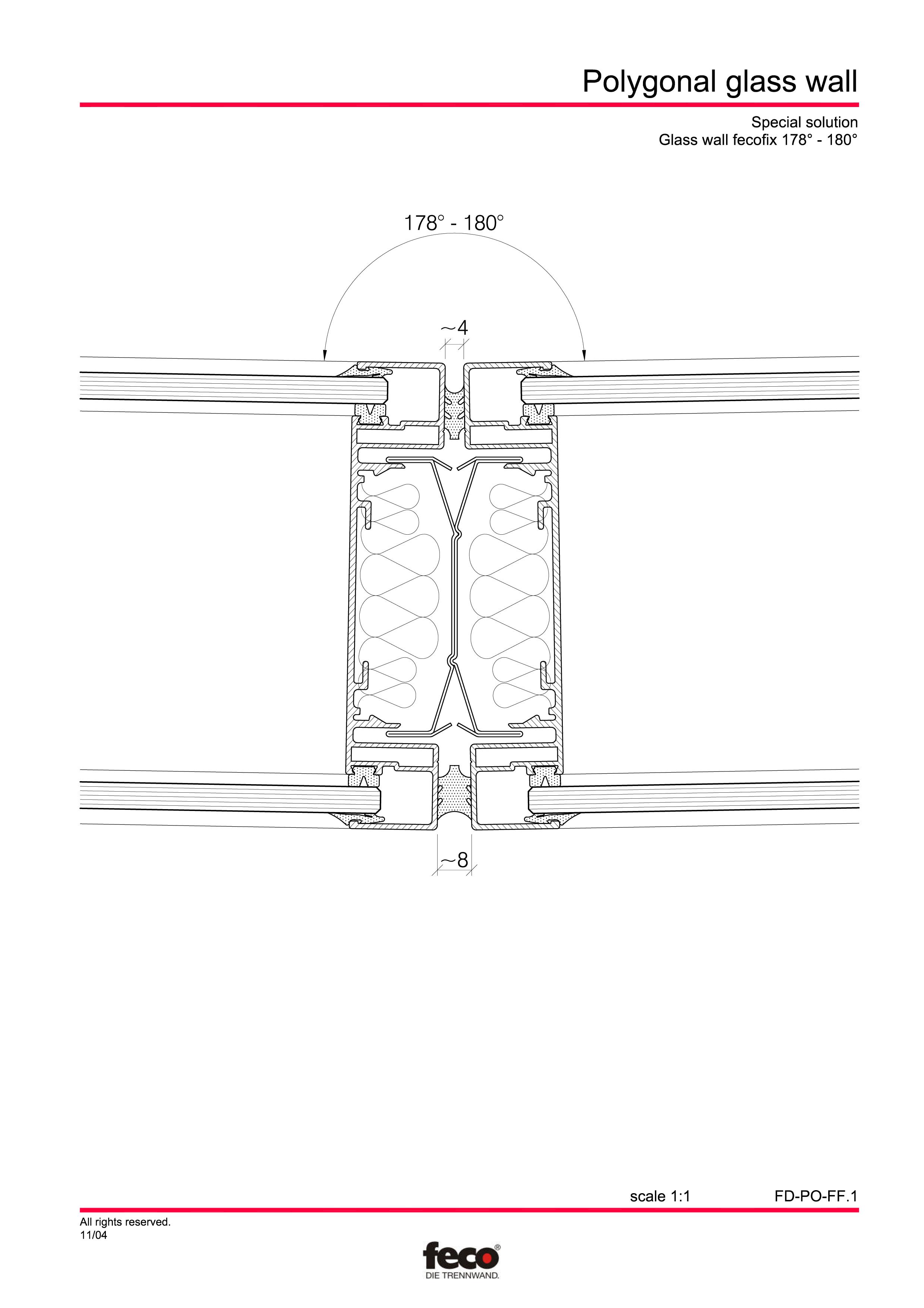 Pagina 2 - CAD-PDF Pereti de compartimentare poligonali FECO Detaliu de montaj FecoFix, FecoPur