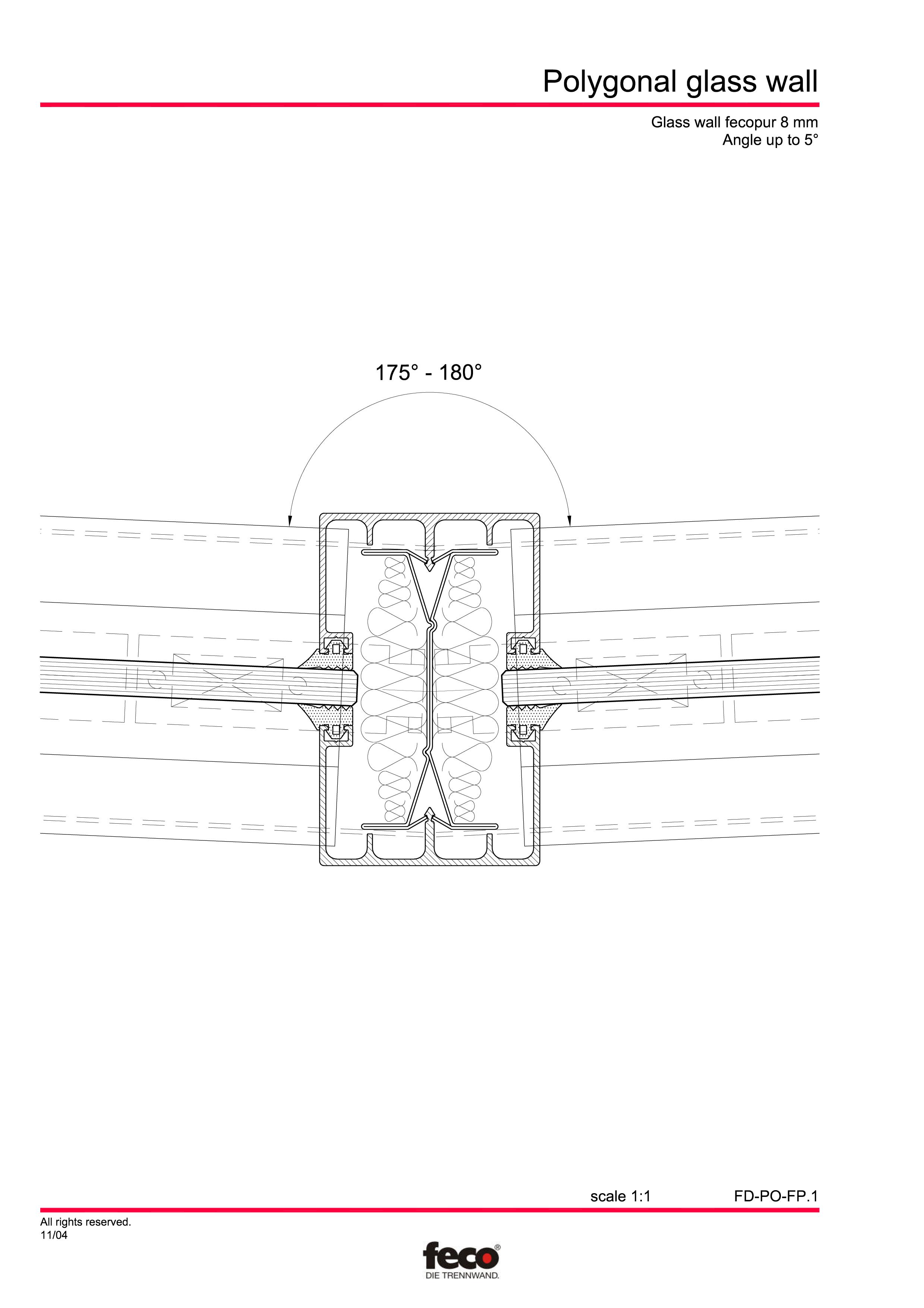 Pagina 3 - CAD-PDF Pereti de compartimentare poligonali FECO Detaliu de montaj FecoFix, FecoPur