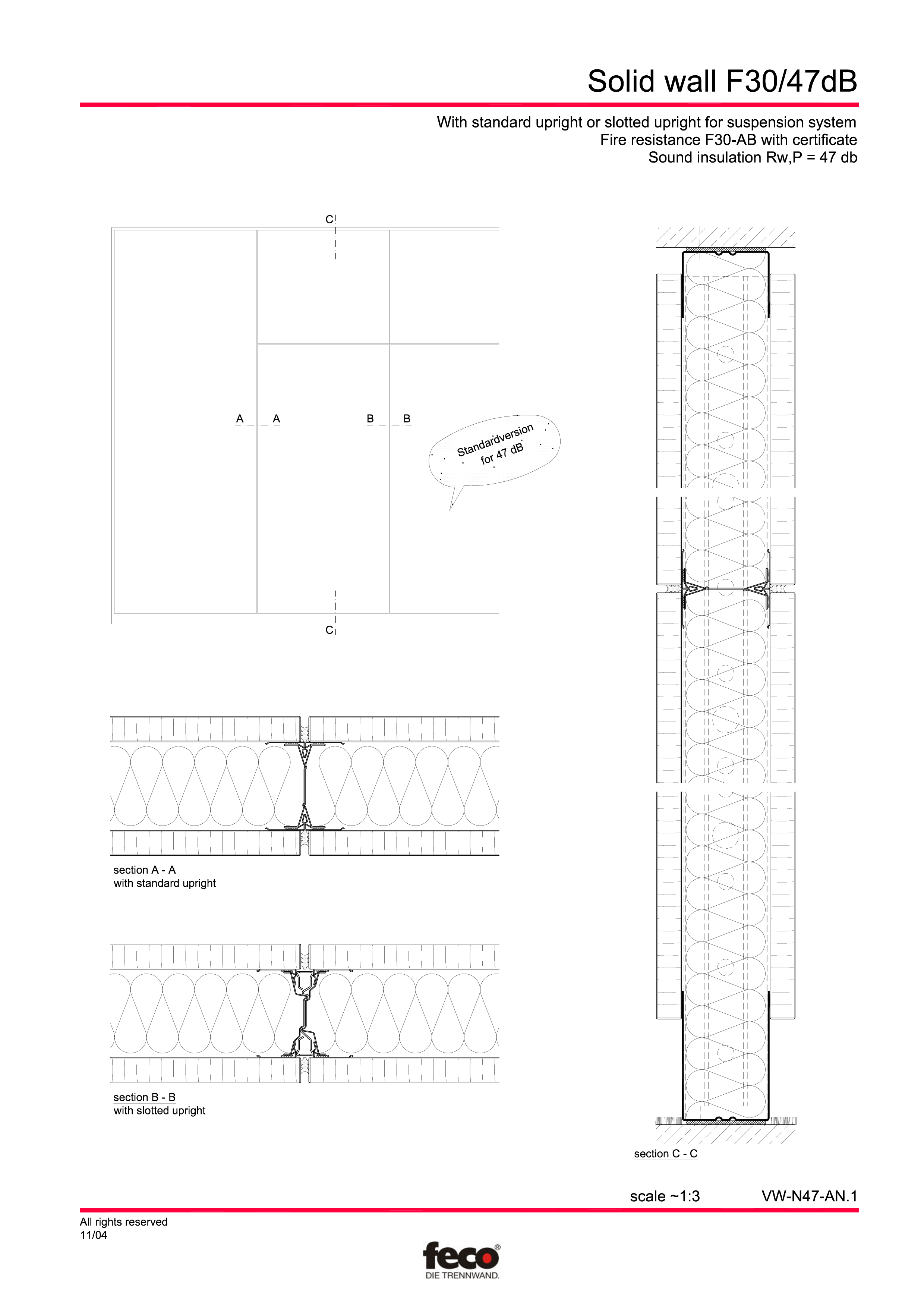 Pagina 1 - CAD-PDF Perete de compartimentare fix FECO Detaliu de montaj FecoFix