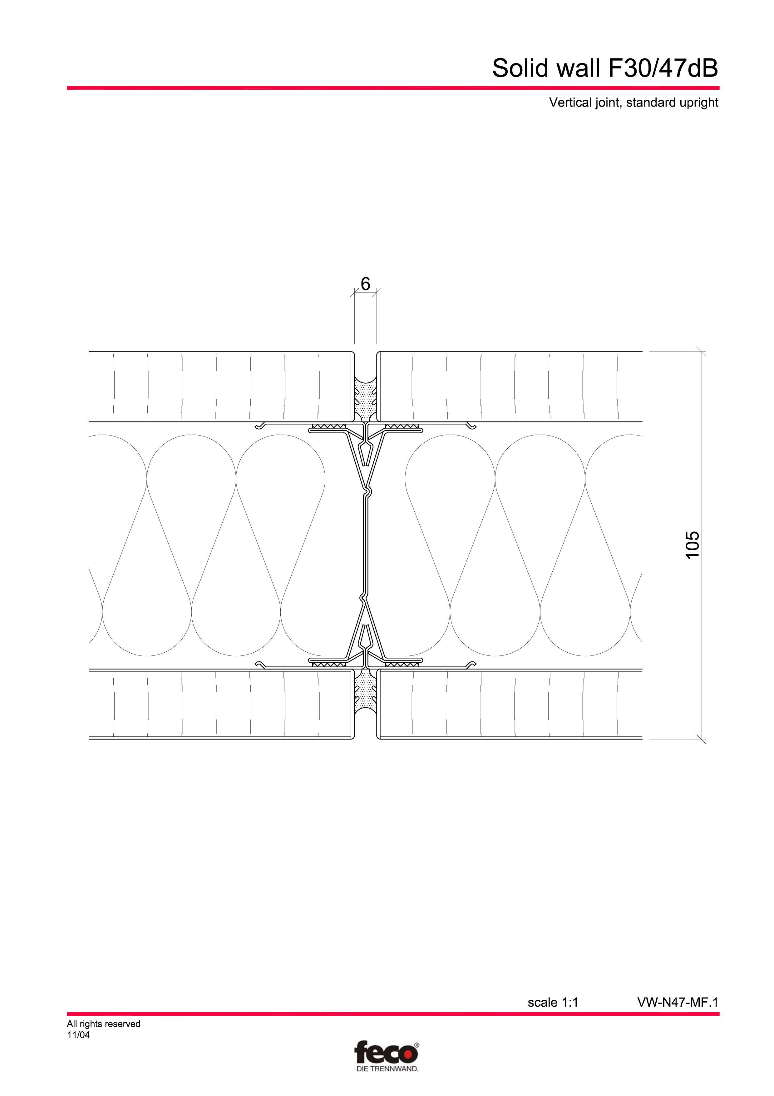 Pagina 2 - CAD-PDF Perete de compartimentare fix FECO Detaliu de montaj FecoFix