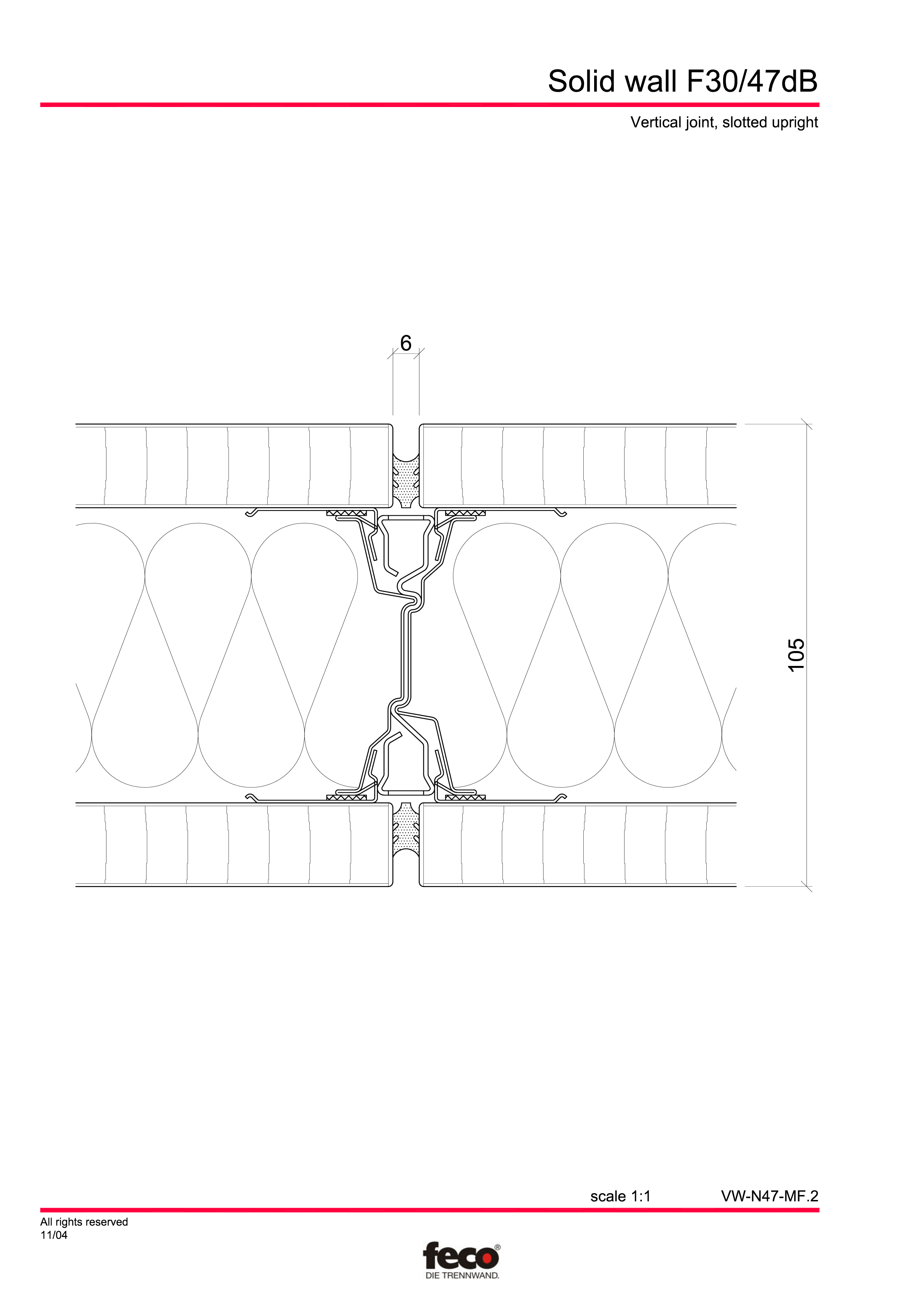 Pagina 3 - CAD-PDF Perete de compartimentare fix FECO Detaliu de montaj FecoFix