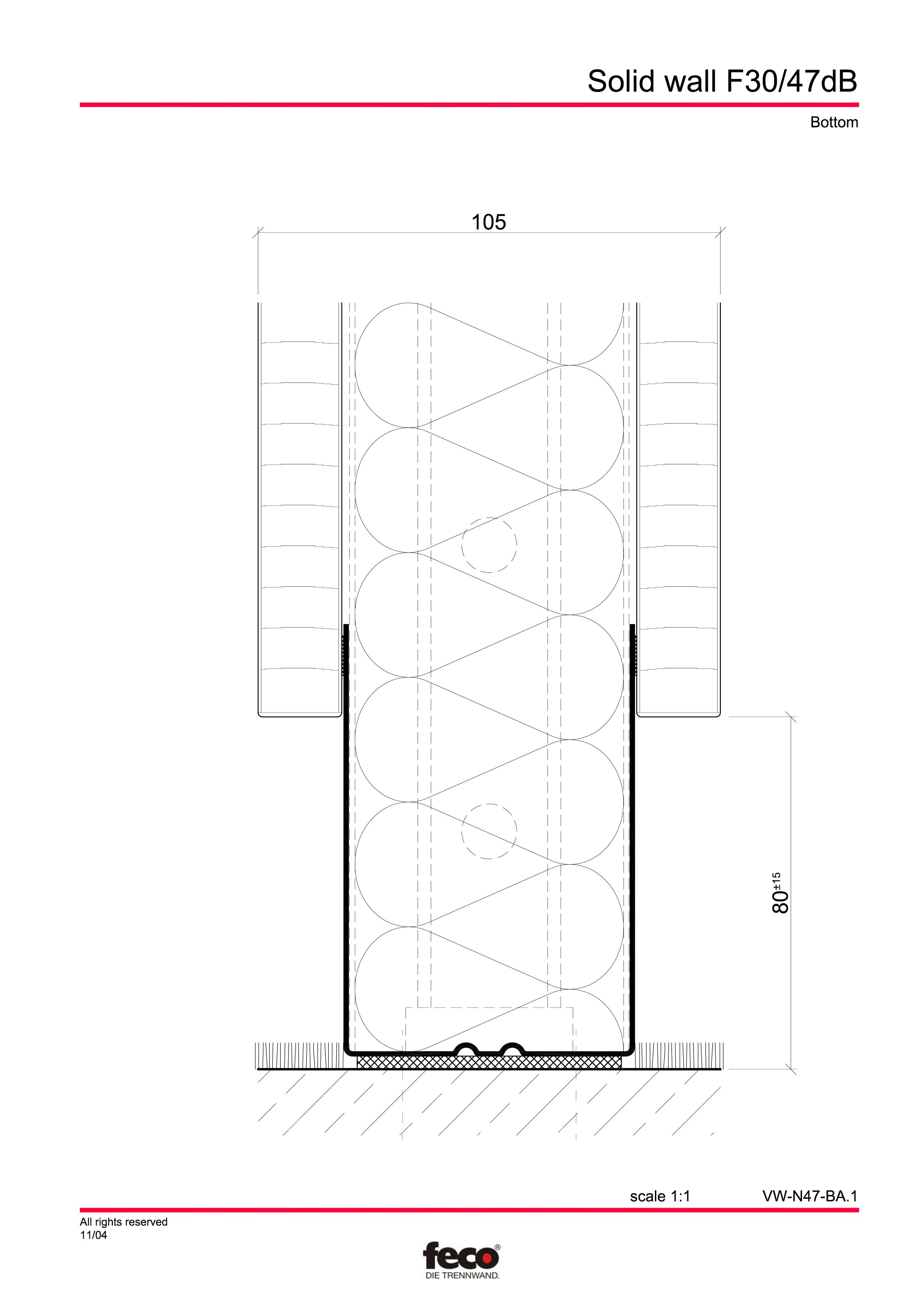 Pagina 4 - CAD-PDF Perete de compartimentare fix FECO Detaliu de montaj FecoFix