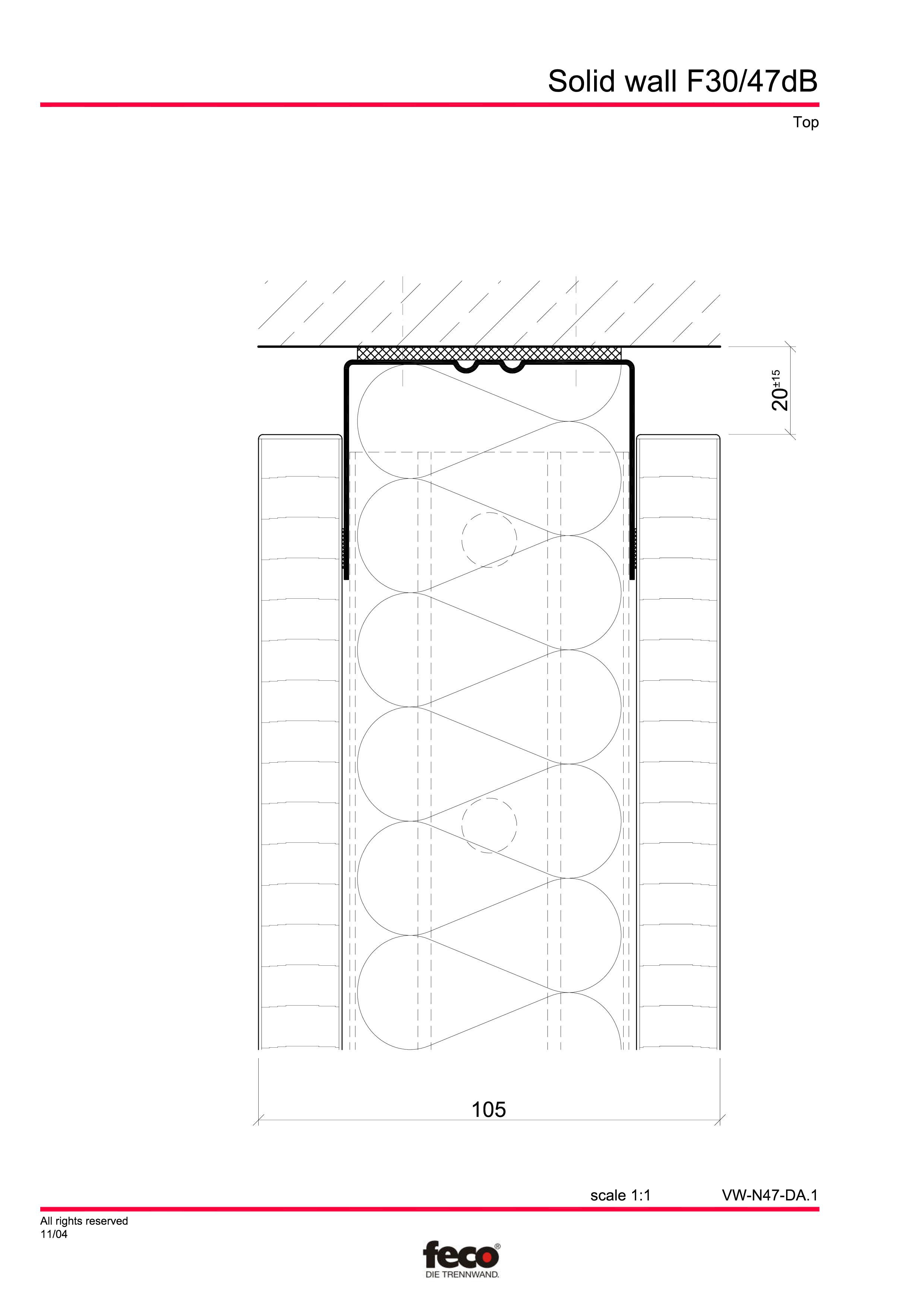 Pagina 5 - CAD-PDF Perete de compartimentare fix FECO Detaliu de montaj FecoFix