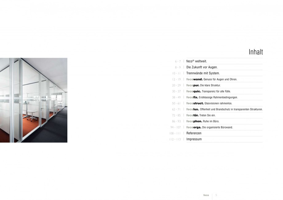 Pagina 2 - Catalog  - Sistem de compartimentare birouri cu usi si pereti din sticla sau lemn FECO...
