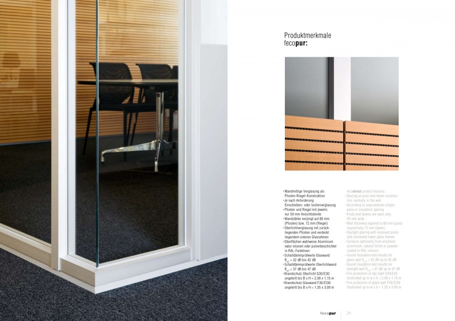 Pagina 14 - Catalog  - Sistem de compartimentare birouri cu usi si pereti din sticla sau lemn FECO...