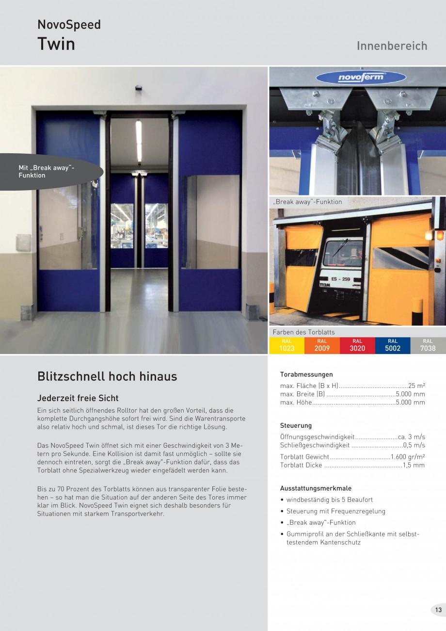 Pagina 13 - Porti industriale rapide NOVOFERM NovoSpeed  Fisa tehnica Germana he (B x H)...............