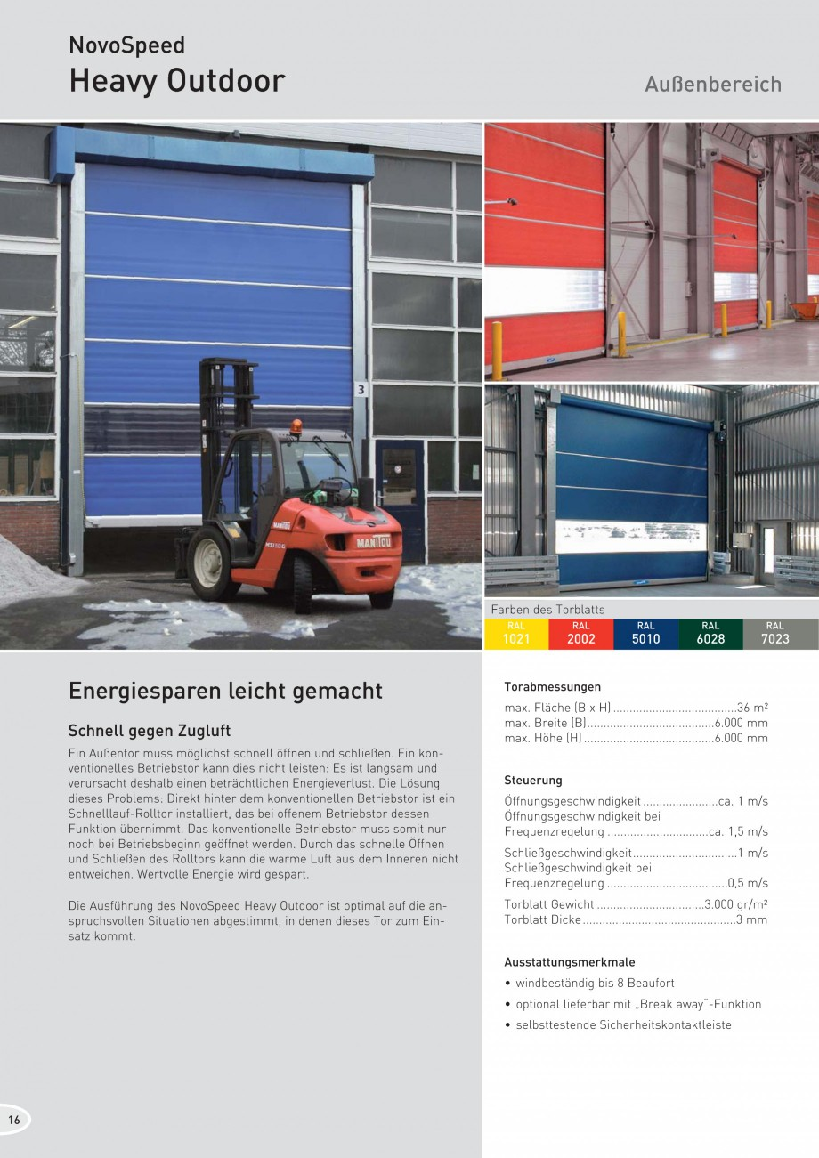 "Pagina 16 - Porti industriale rapide NOVOFERM NovoSpeed  Fisa tehnica Germana mit ""Break..."
