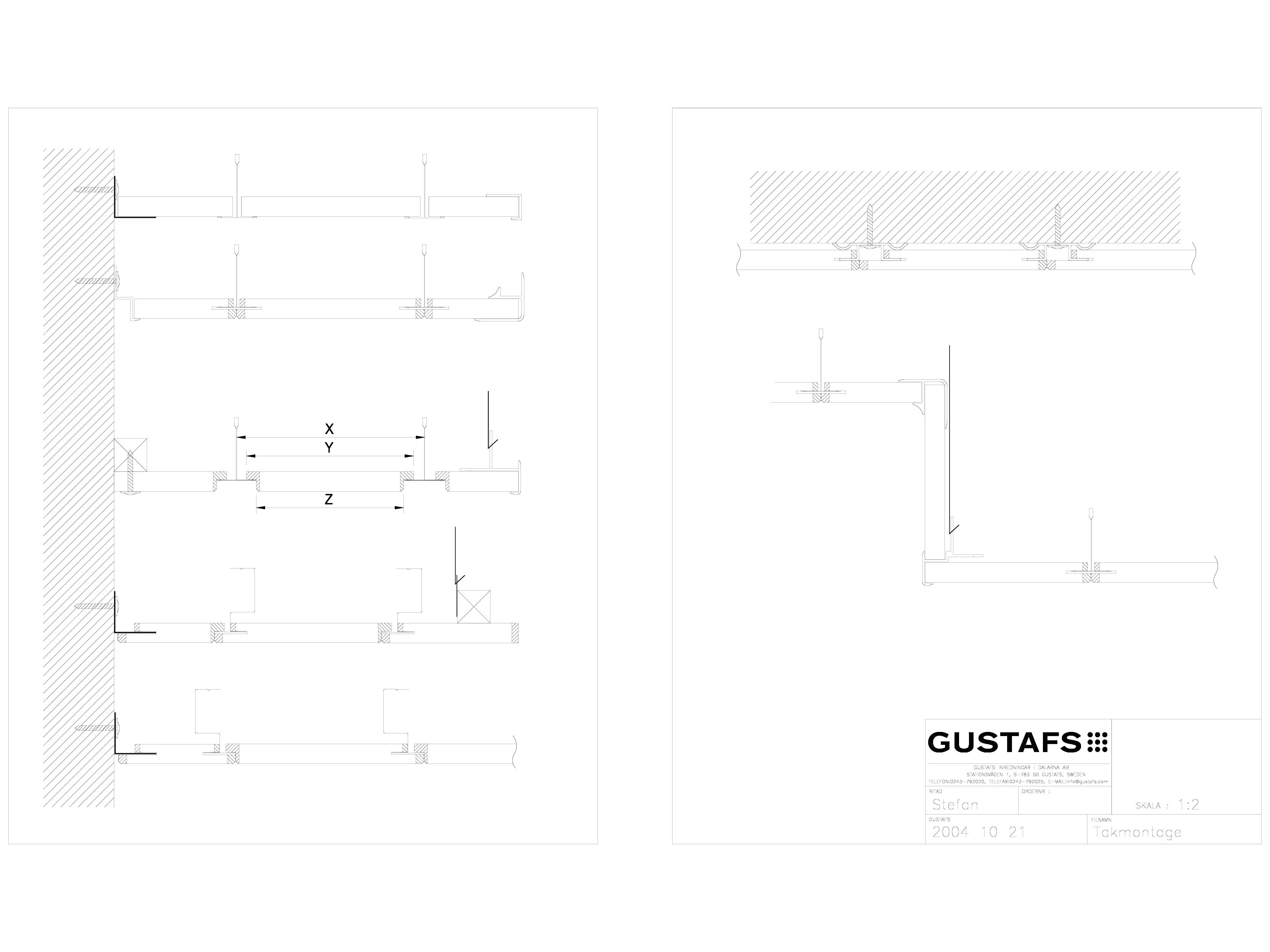 Pagina 1 - CAD-DWG Panouri fonoabsorbante - Montaj pe plafon GUSTAFS Detaliu de montaj