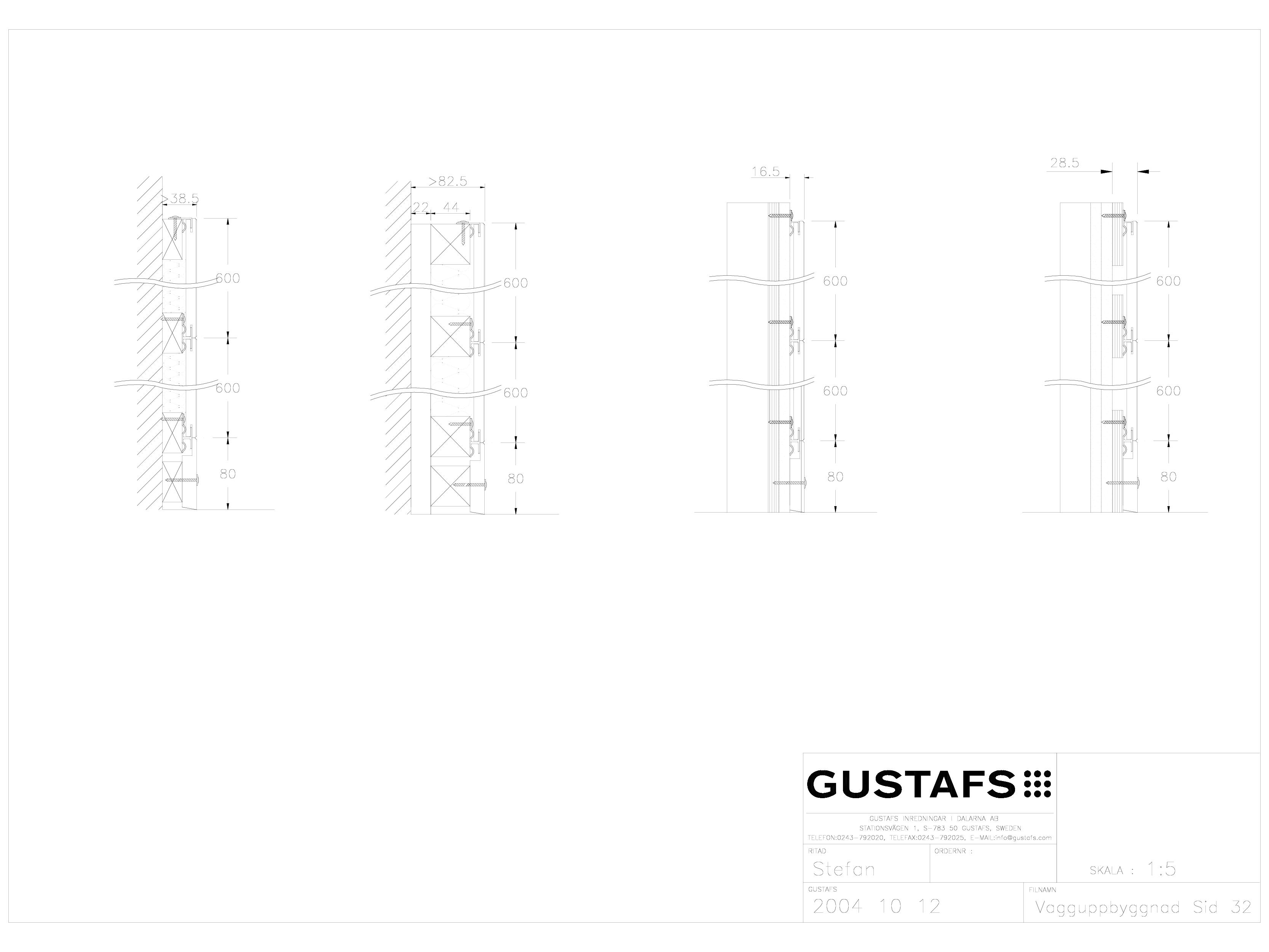 Pagina 1 - CAD-DWG Panouri fonoabsorbante - Montaj pe perete GUSTAFS Detaliu de montaj
