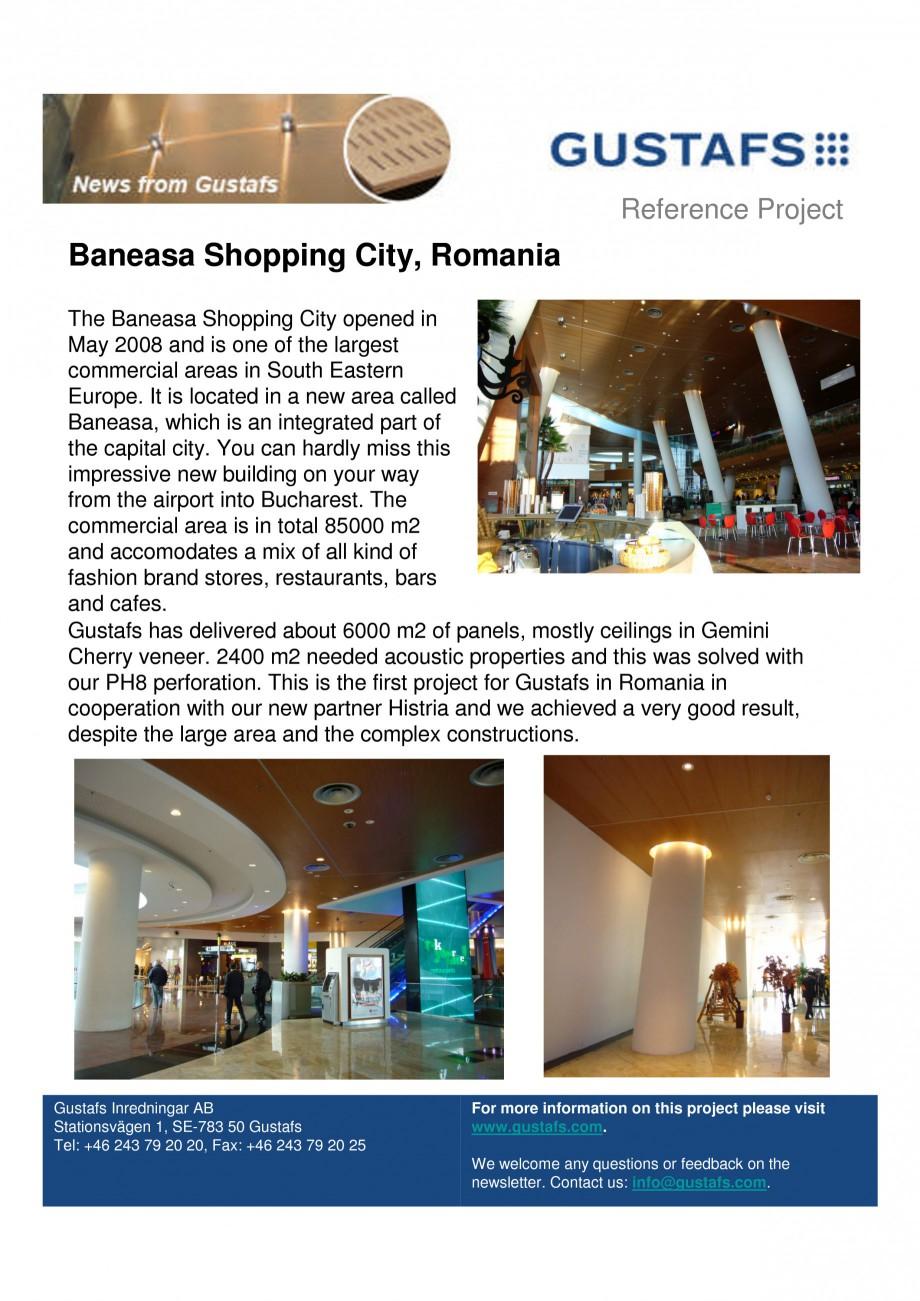 Pagina 1 - Panouri fonoabsorbante - Baneasa Shopping City, Romania GUSTAFS Lucrari, proiecte Engleza...
