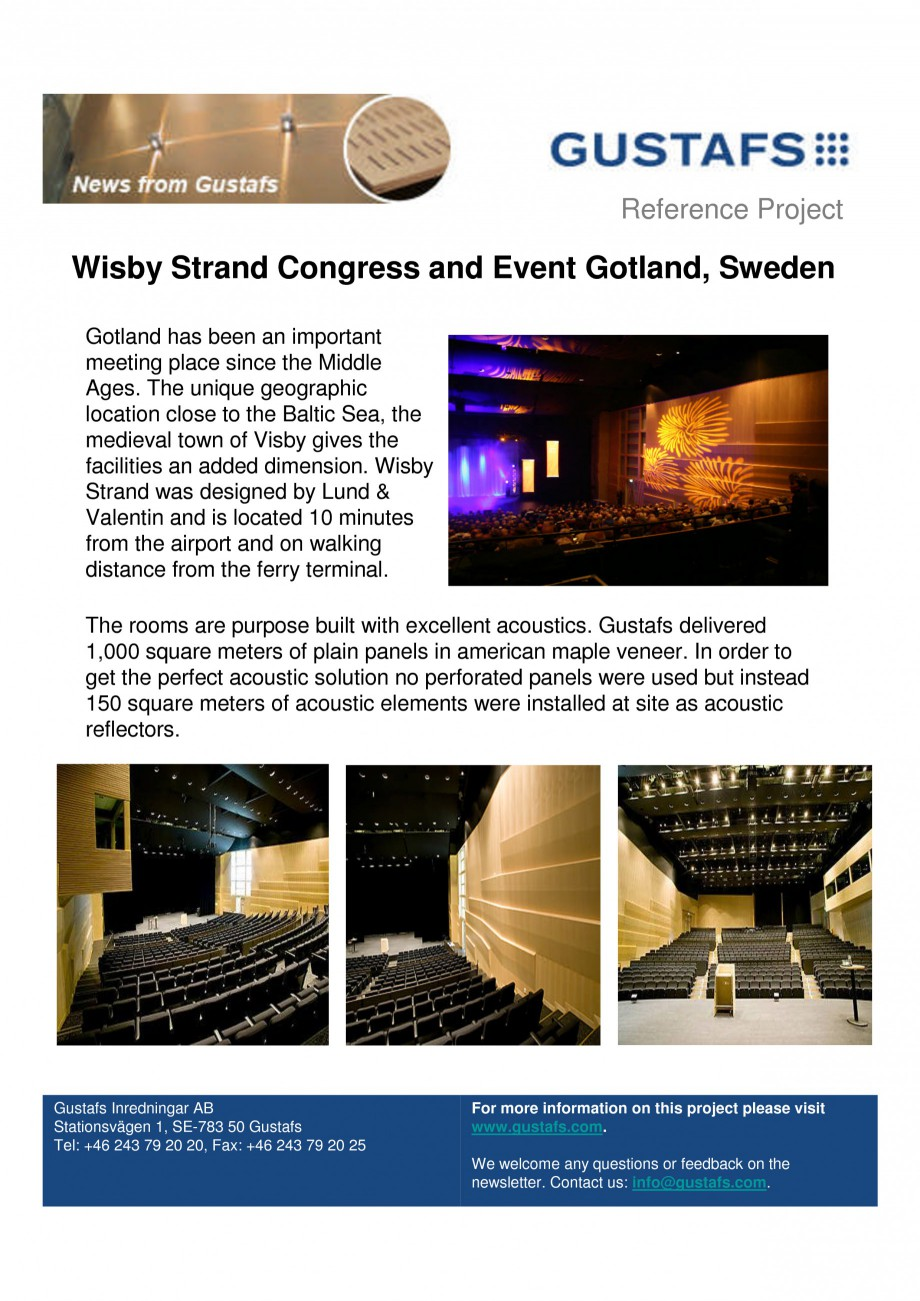 Pagina 1 - Panouri fonoabsorbante - Wisby Strand Congress and Event Gotland, Sweden GUSTAFS Lucrari,...