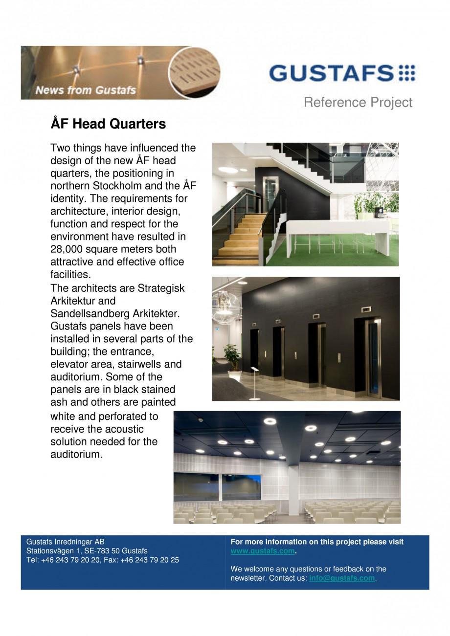 Pagina 1 - Panouri fonoabsorbante - AF Head Quarters GUSTAFS Lucrari, proiecte Engleza Reference...