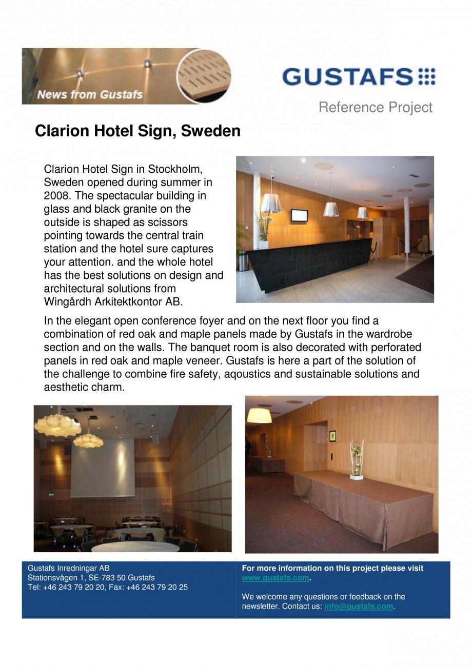 Pagina 1 - Panouri fonoabsorbante - Clarion Hotel Sign, Sweden GUSTAFS Lucrari, proiecte Engleza...