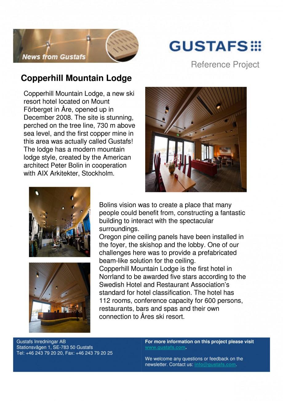 Pagina 1 - Panouri fonoabsorbante - Copperhill Mountain Lodge GUSTAFS Lucrari, proiecte Engleza...