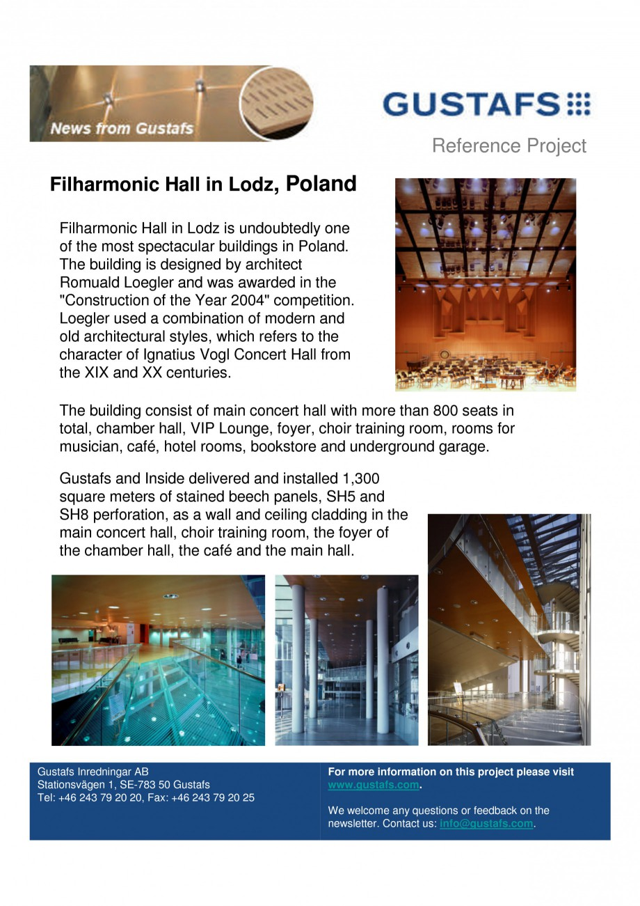Pagina 1 - Panouri fonoabsorbante - Filharmonic Hall in Lodz, Poland GUSTAFS Lucrari, proiecte...