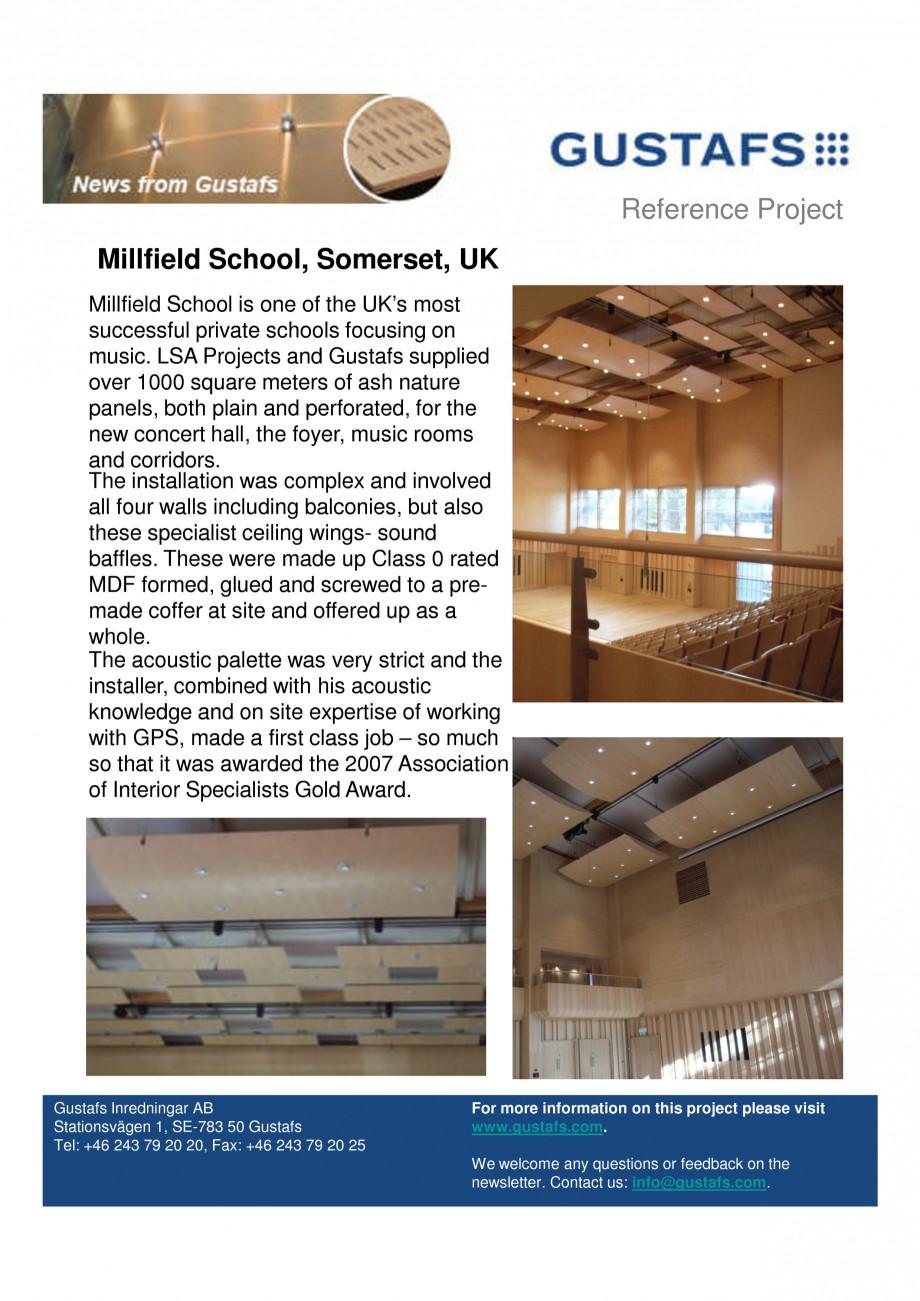 Pagina 1 - Panouri fonoabsorbante - Millfield School, Somerset, UK GUSTAFS Lucrari, proiecte Engleza...