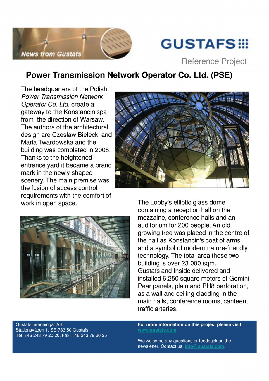 Pagina 1 - Panouri fonoabsorbante - Power Transmission Network Operator Co. Ltd PSE GUSTAFS Lucrari,...